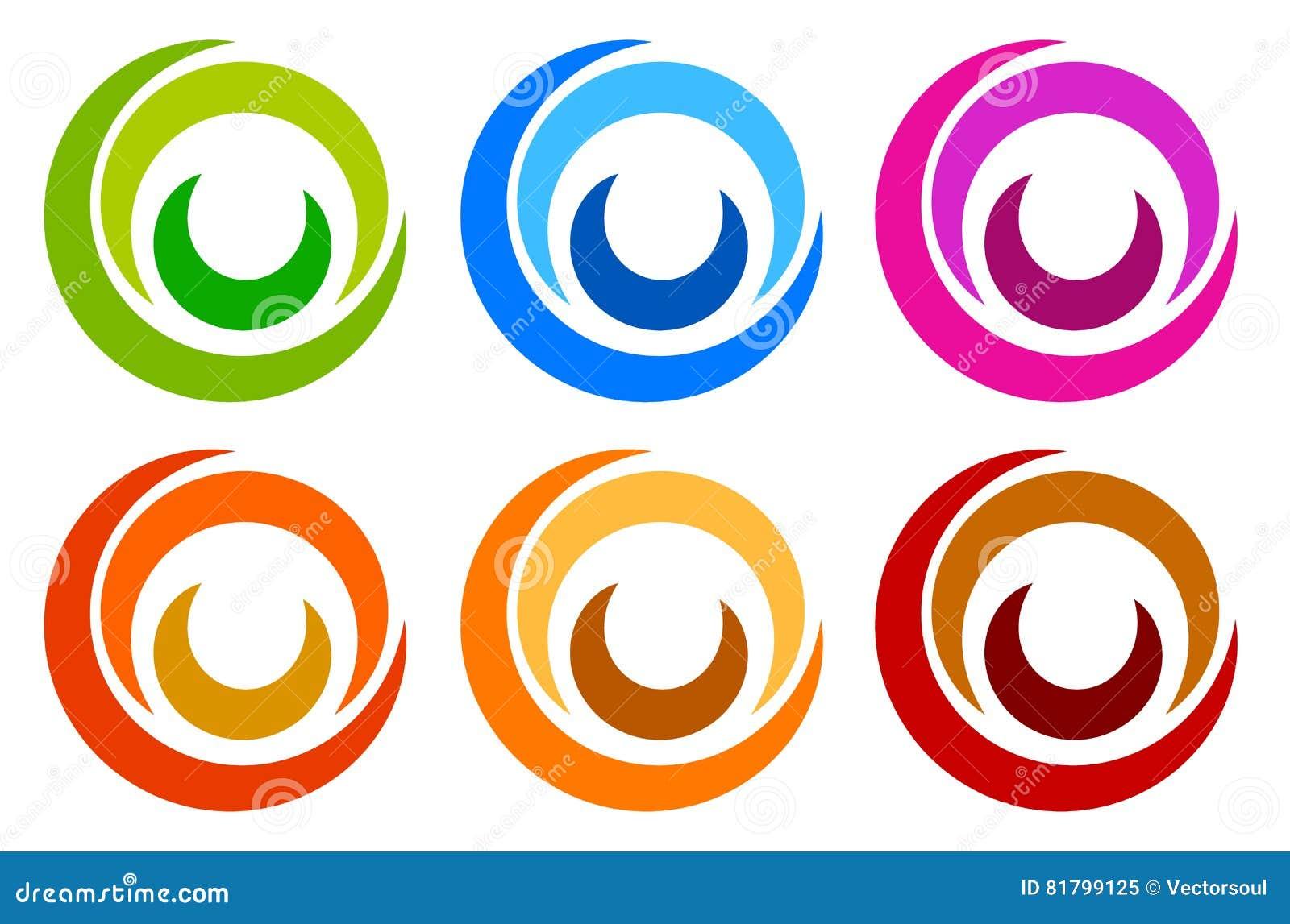Kleurrijk cirkelembleem, pictogrammalplaatjes gesegmenteerd concentrisch circl