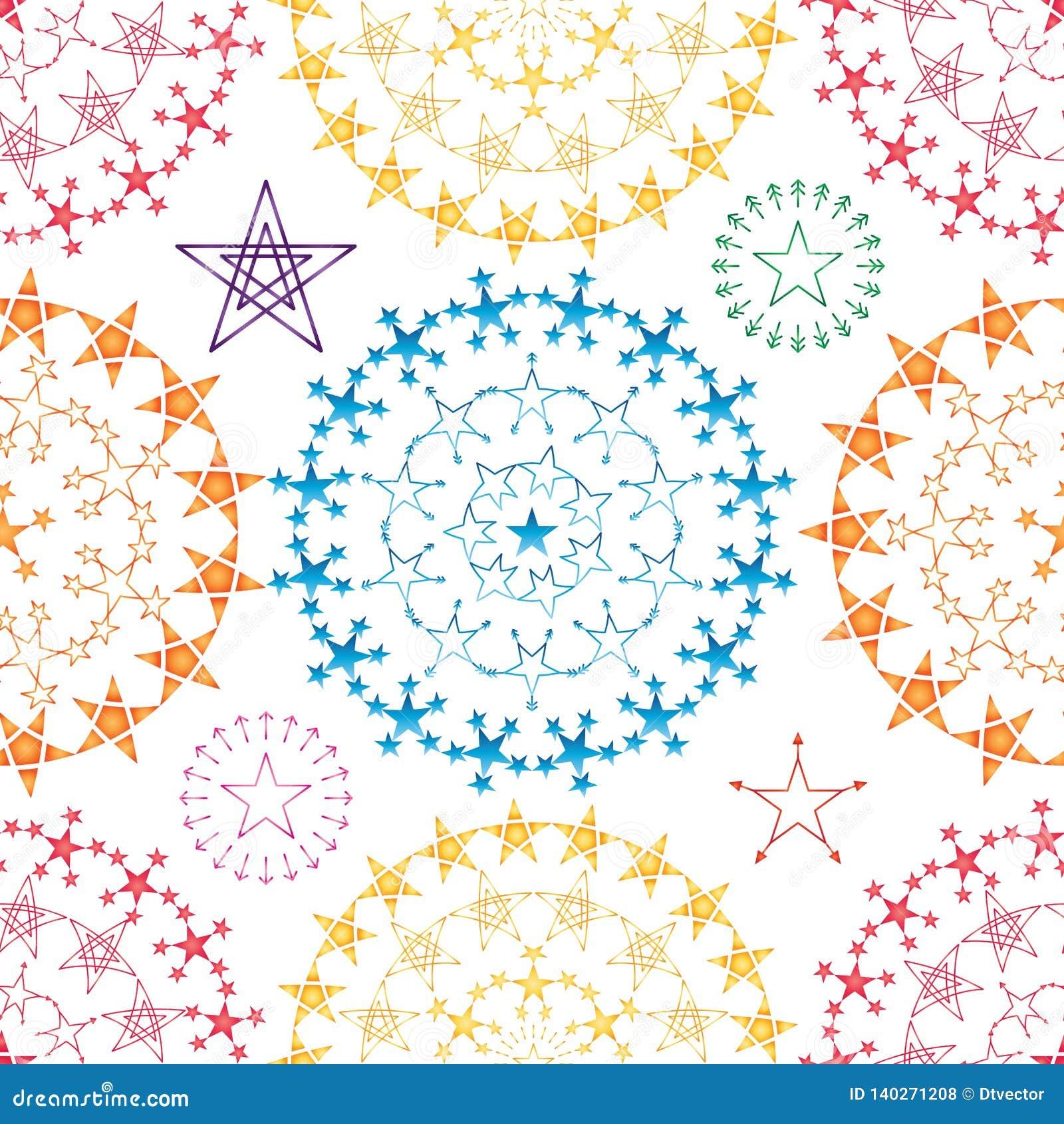 Kleurrijk de symmetrie naadloos patroon van stermandala