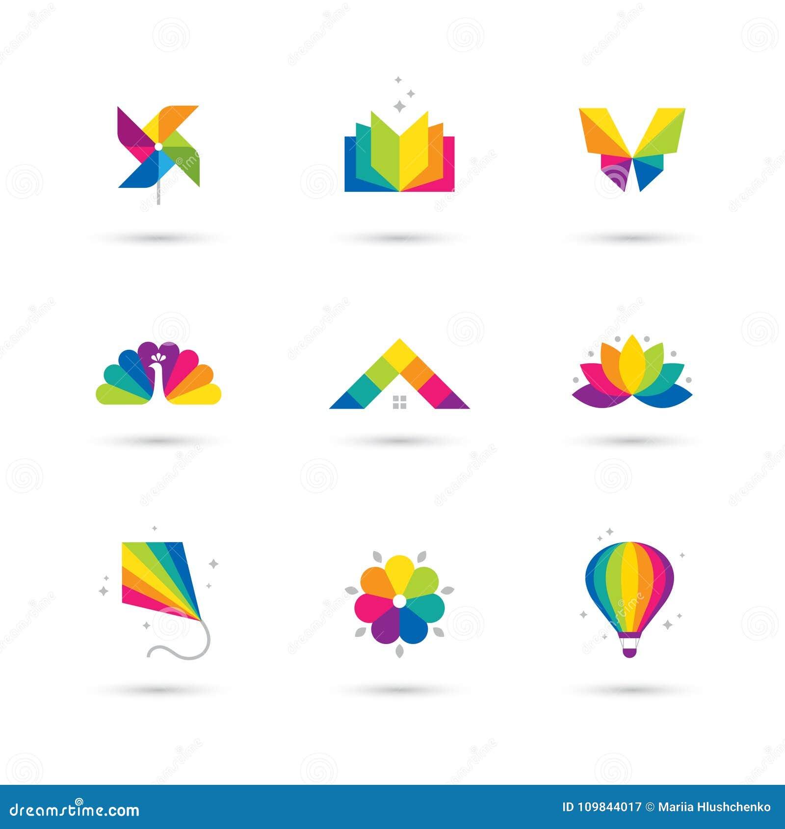 Kleurrijk die pictogram en embleem op witte achtergrond wordt geplaatst