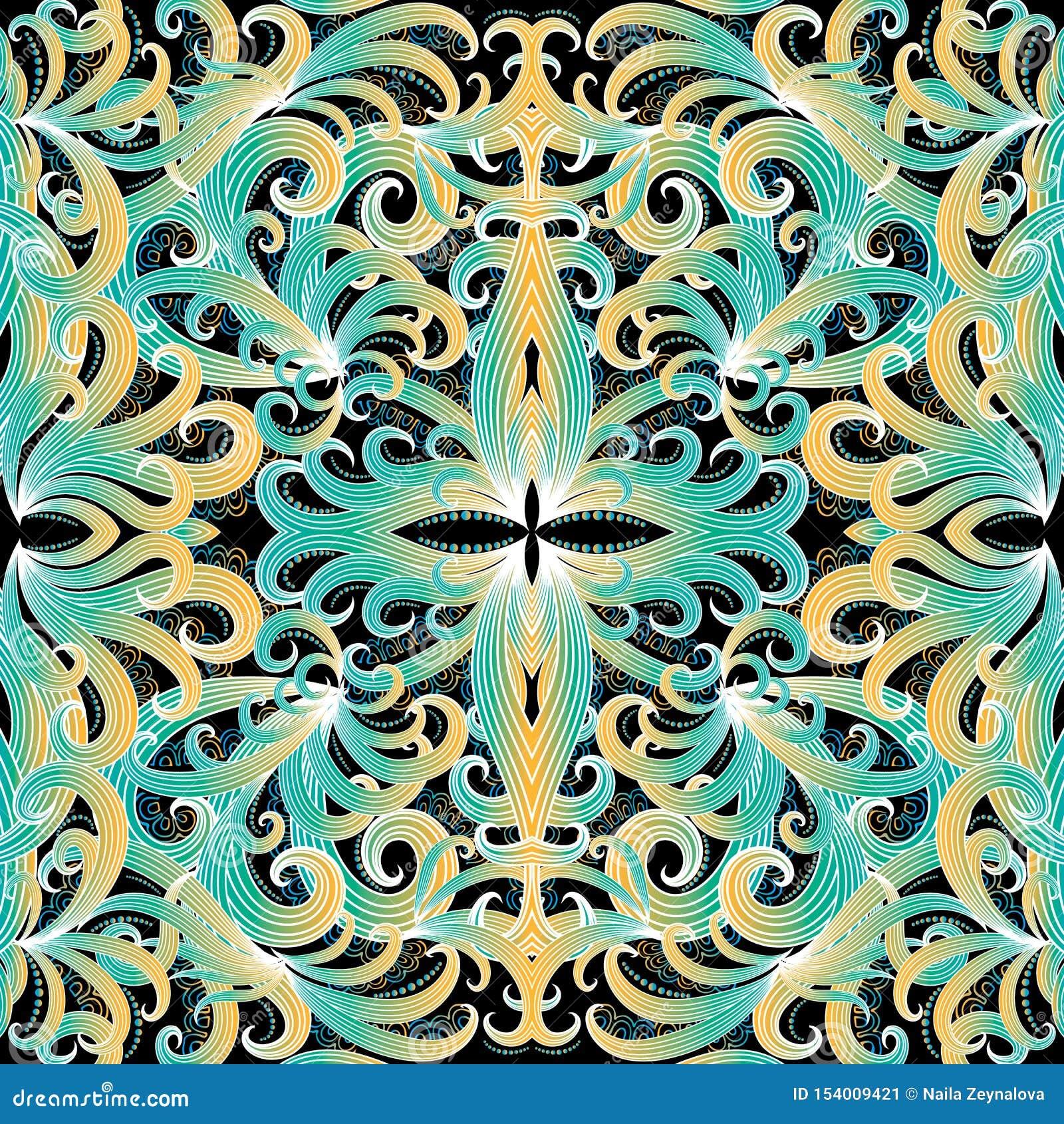 Kleurrijk elegantie bloemen vector naadloos patroon Sier etnische stijlachtergrond Decoratief herhaal achtergrond Uitstekende han