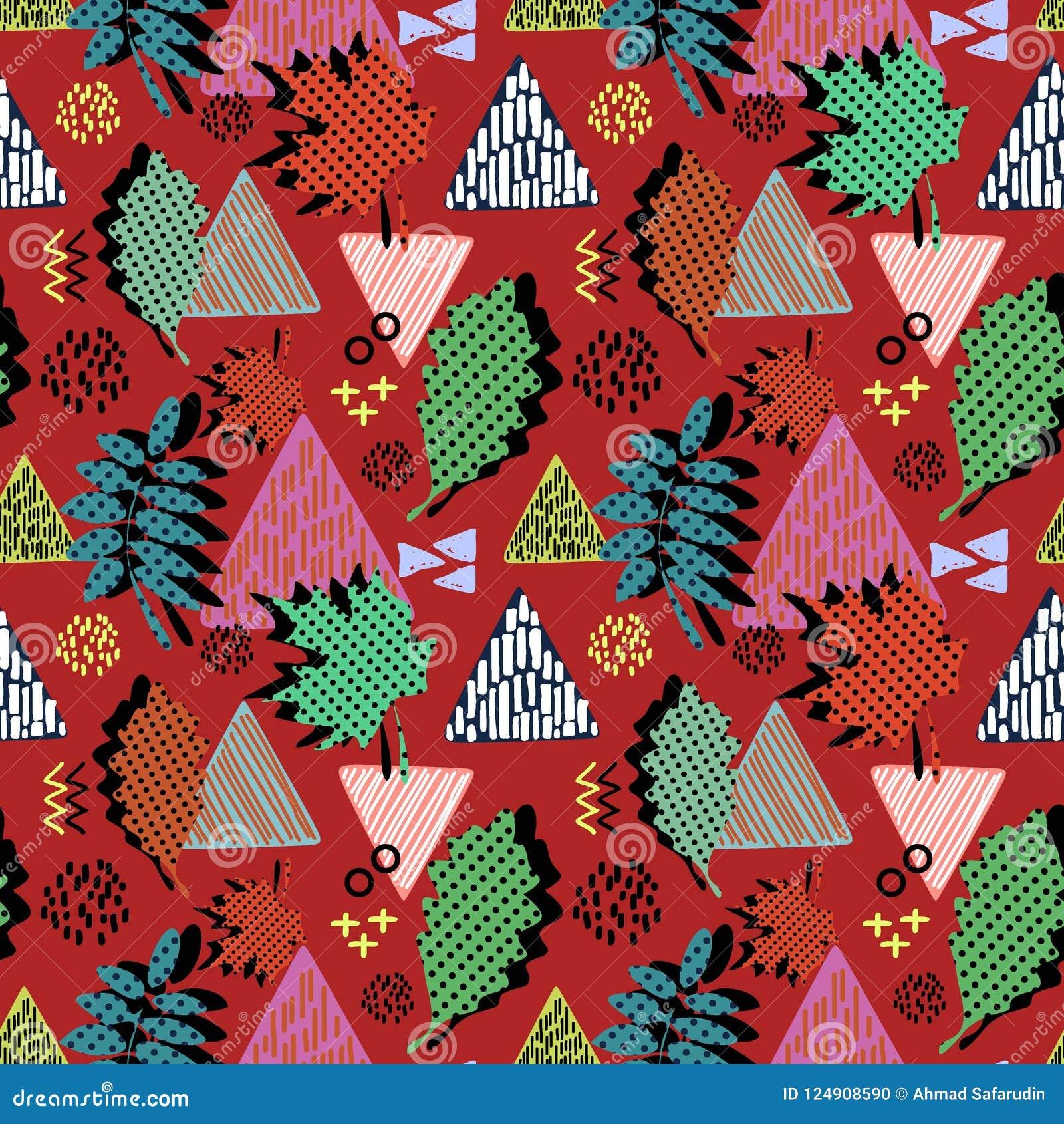 Kleurrijk geometrisch de bladeren naadloos patroon van de aardherfst klaar voor druk De vectorstijl van illustratie in hipster