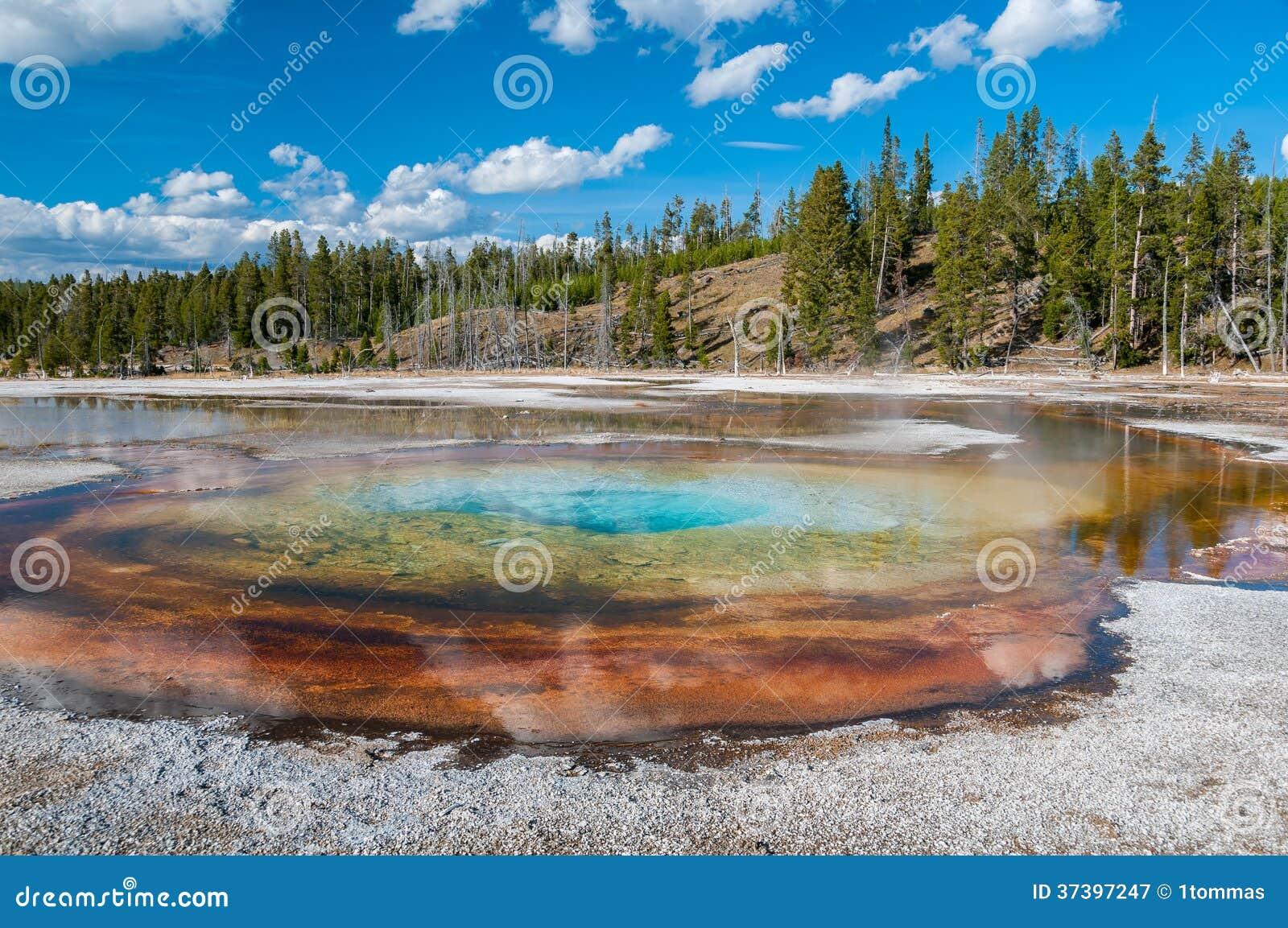 Kleurrijk geothermisch bassin in Yellowstone NP