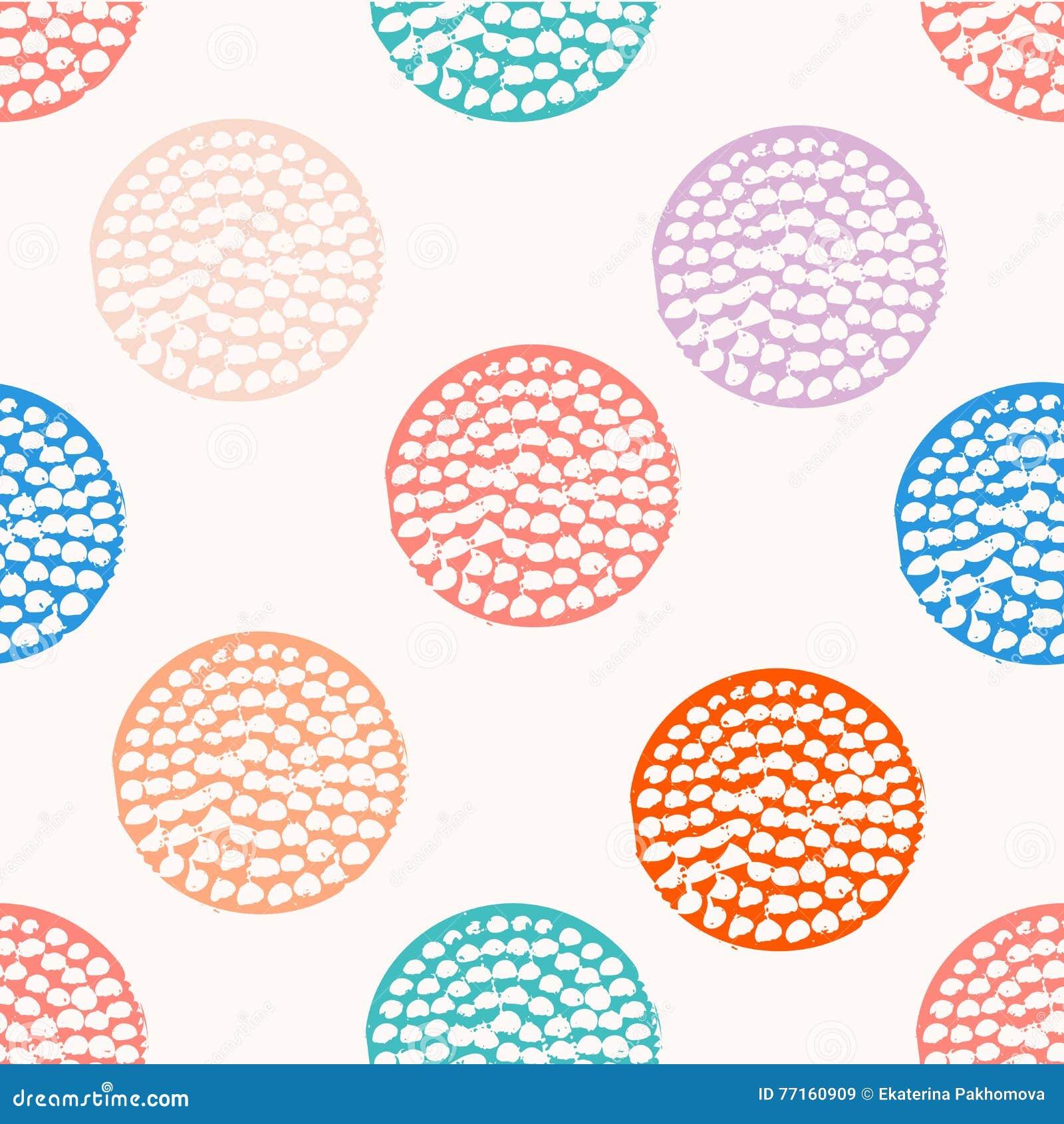 Kleurrijk geweven cirkel naadloos patroon, blauwe, roze, oranje, violette ronde grungestip, verpakkend document