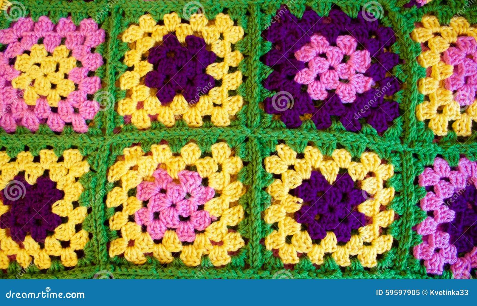 Kleurrijk Haak Oma Vierkante Deken Stock Afbeelding Afbeelding