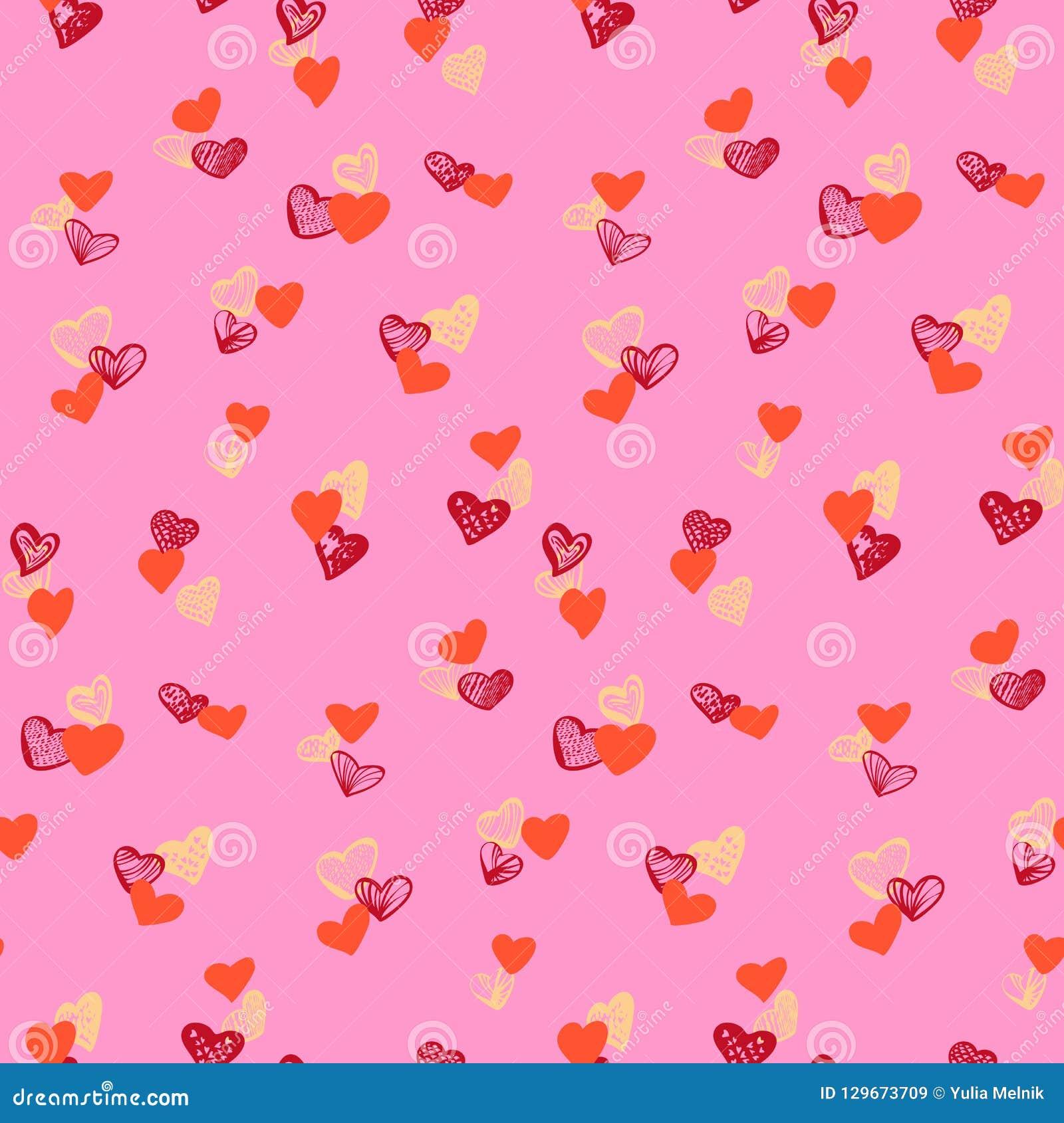 Kleurrijk harten naadloos patroon op roze achtergrond