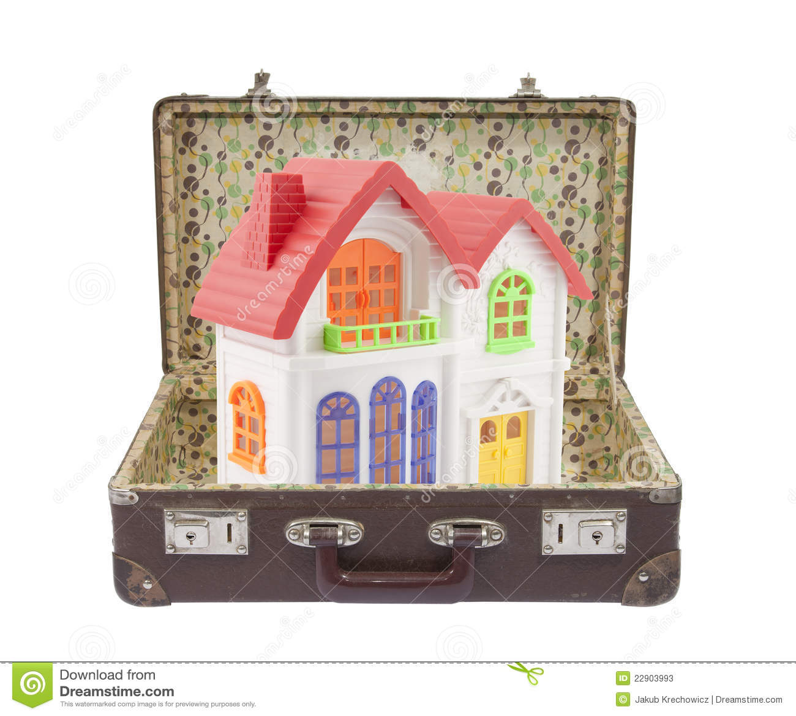 Kleurrijk huis in oude koffer stock foto 39 s afbeelding 22903993 - Foto huis in l ...