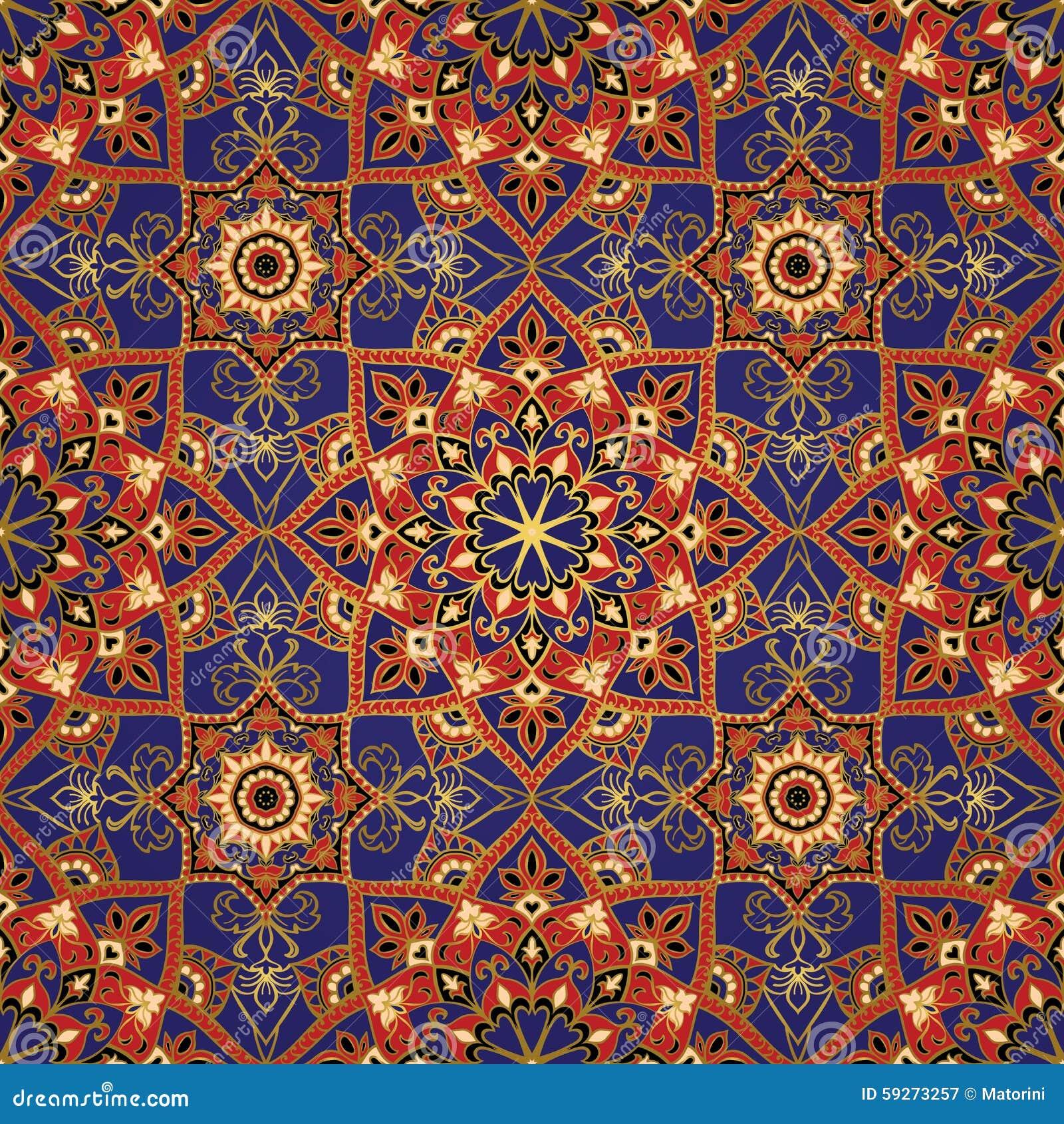 Kleurrijk malplaatje met gouden contouren vector illustratie afbeelding 59273257 - Oosters stof ...