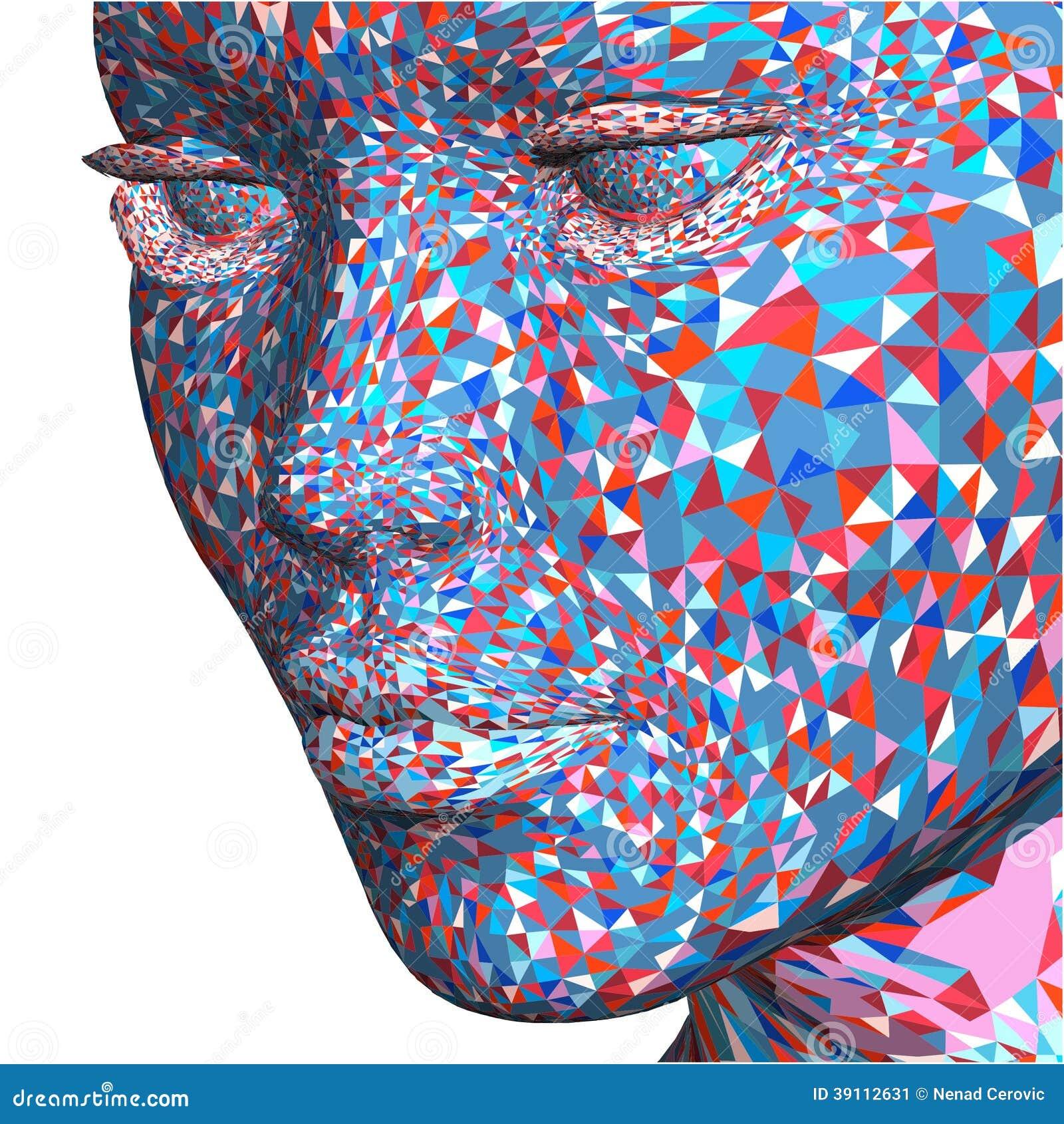 Kleurrijk Mooi die Gezicht van Kleine Driehoeken wordt gemaakt