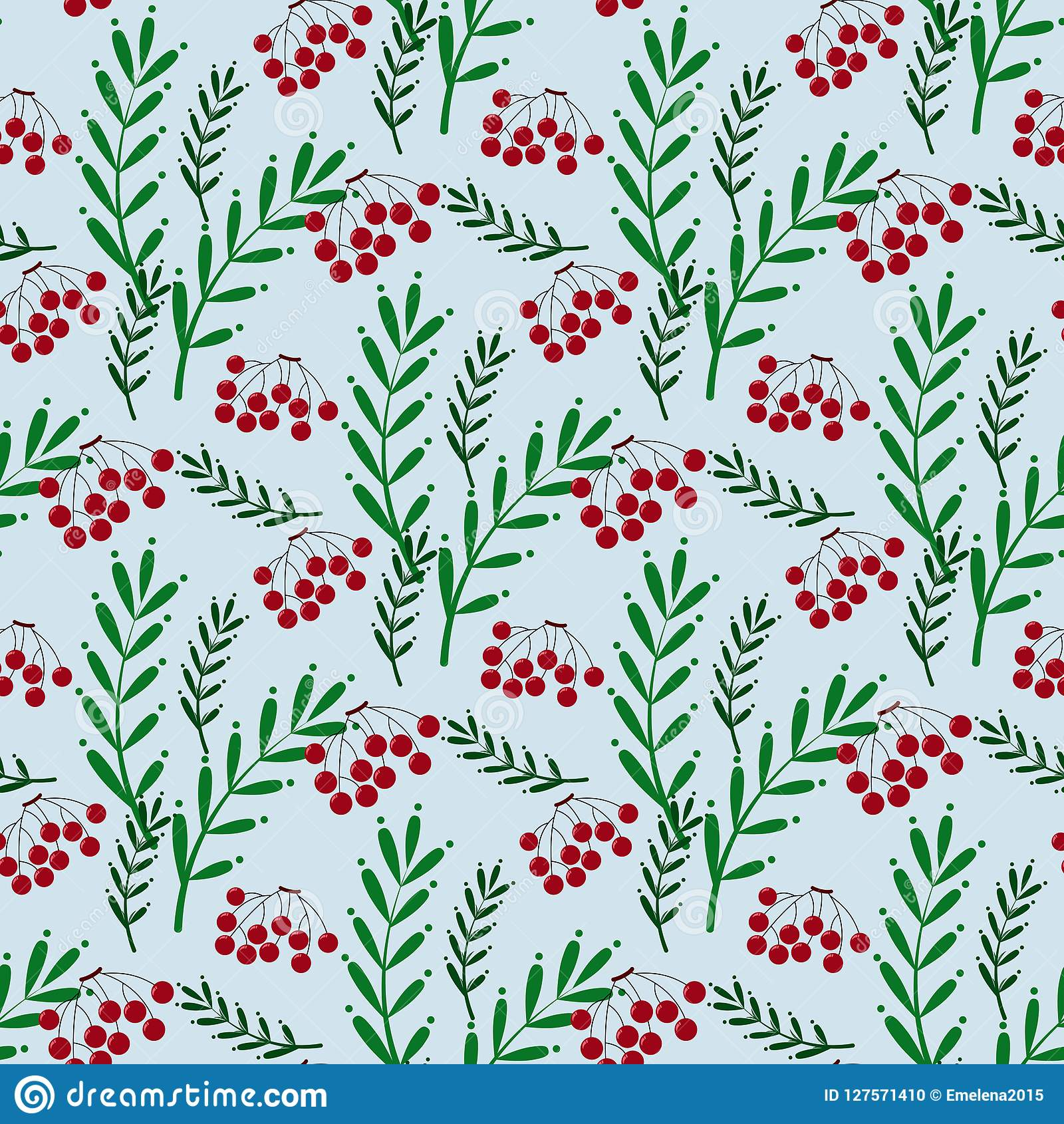Kleurrijk naadloos patroon met ashberry en bladeren