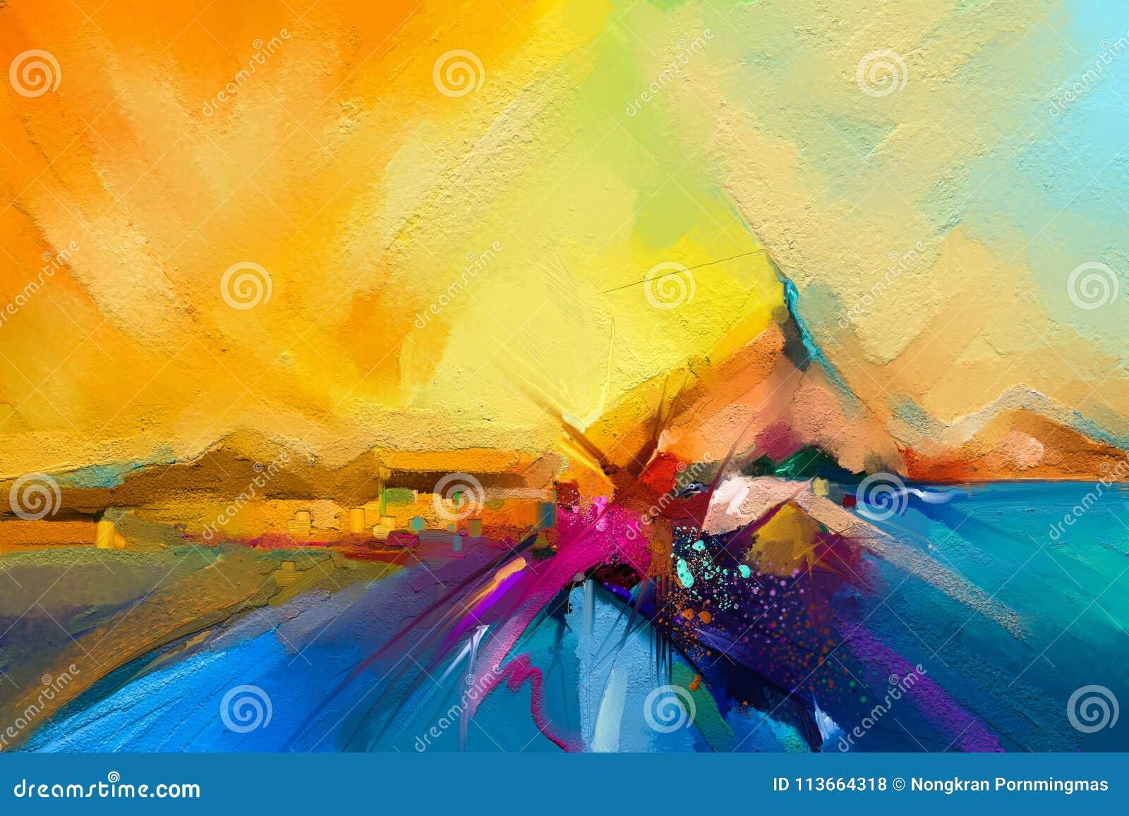 Kleurrijk olieverfschilderij op canvastextuur Semi abstract beeld van zeegezichtschilderijen