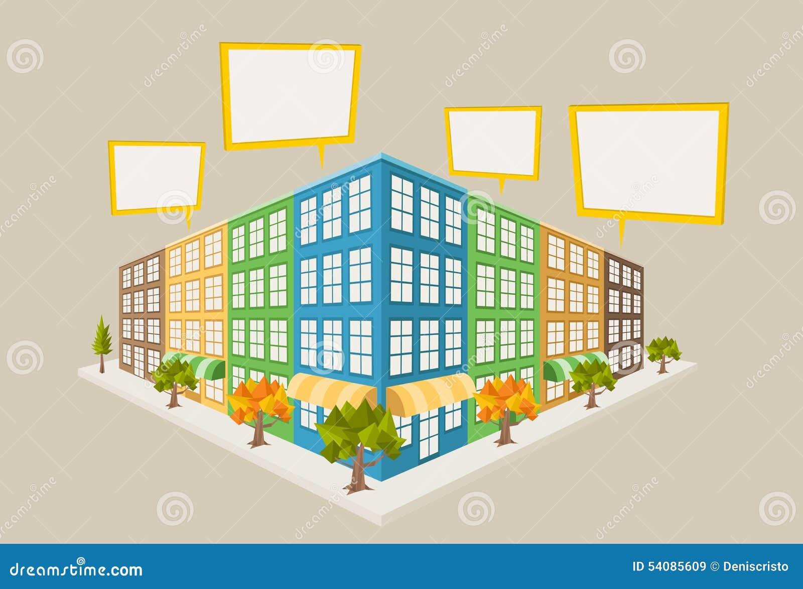 Kleurrijk stadsblok