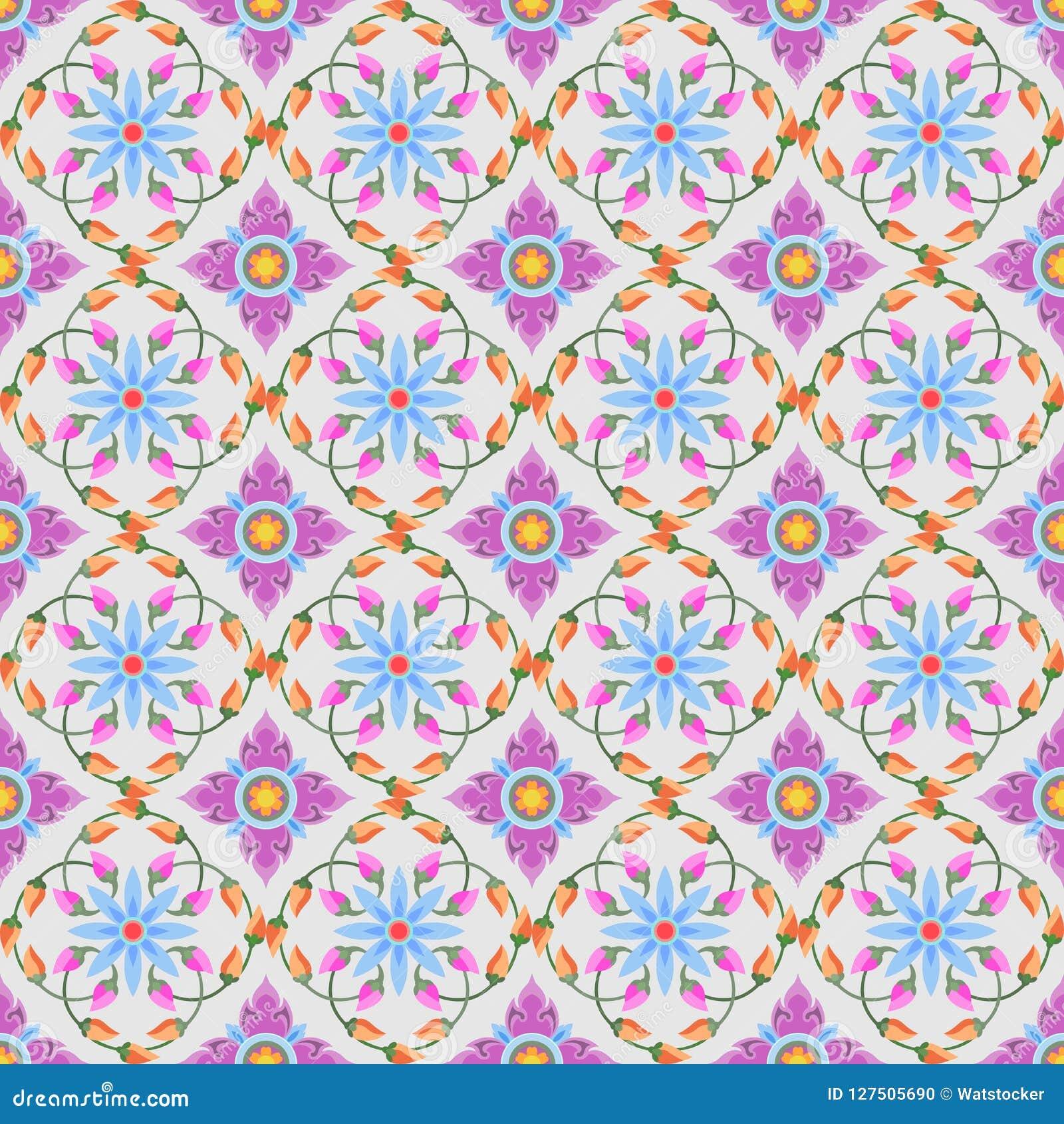 Kleurrijk Thais traditioneel kunst naadloos patroon