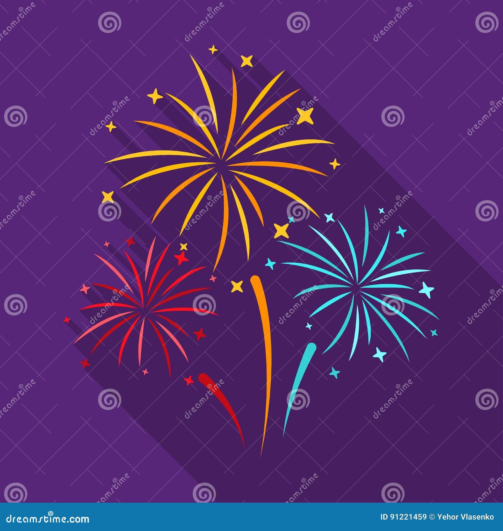 Kleurrijk vuurwerkpictogram in vlakke die stijl op witte achtergrond wordt geïsoleerd Van de het symboolvoorraad van de gebeurten