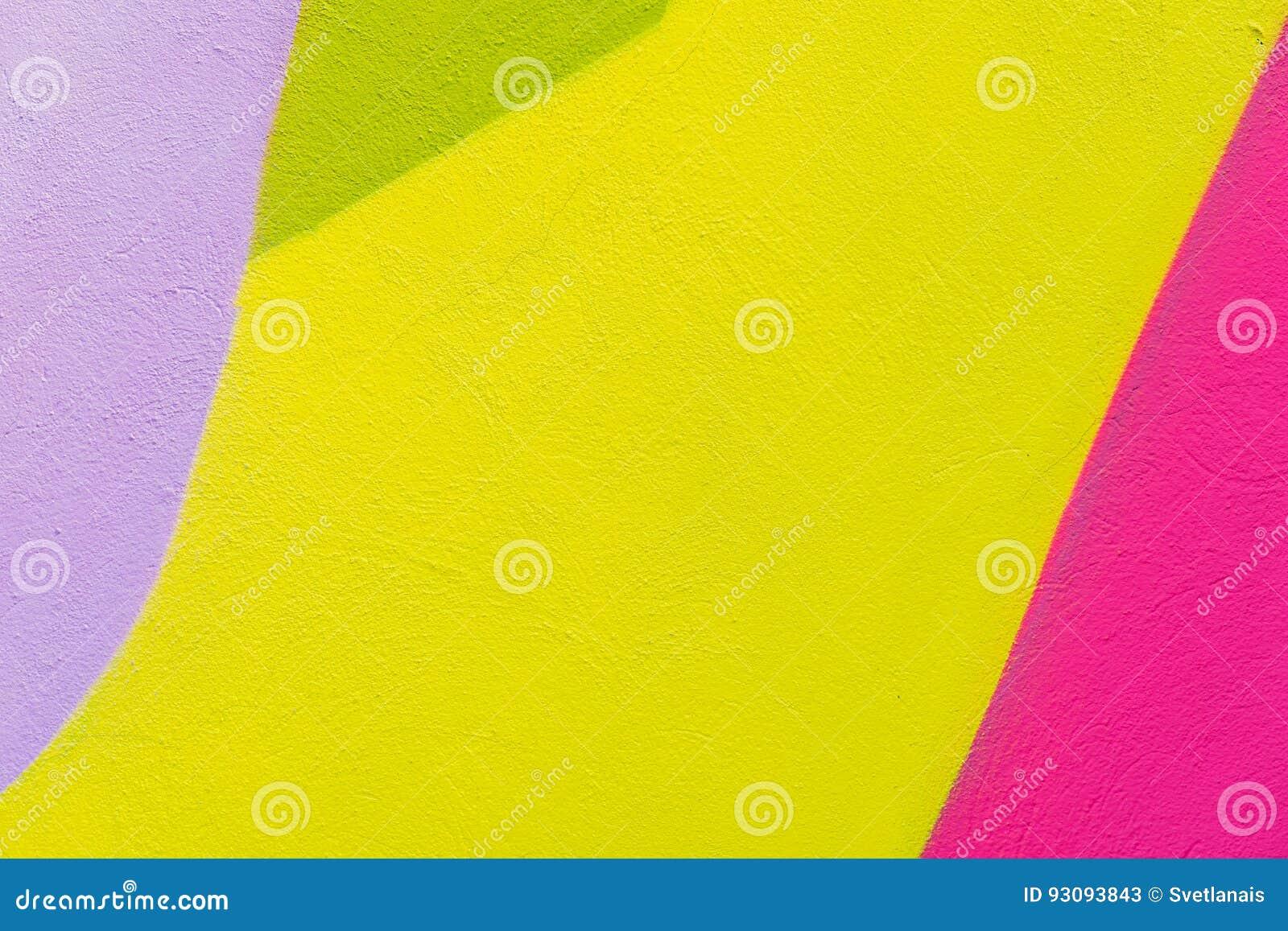 Kleurrijke abstracte geweven achtergrond Straatkunst, gepleisterde muurvoorgevel met groene, roze, purpere, gele verven