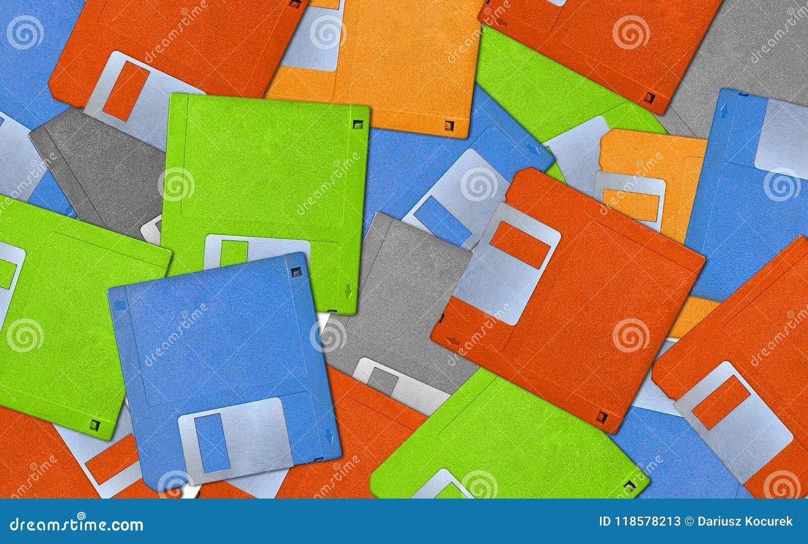 Kleurrijke achtergrond met oude diskettes - diskette