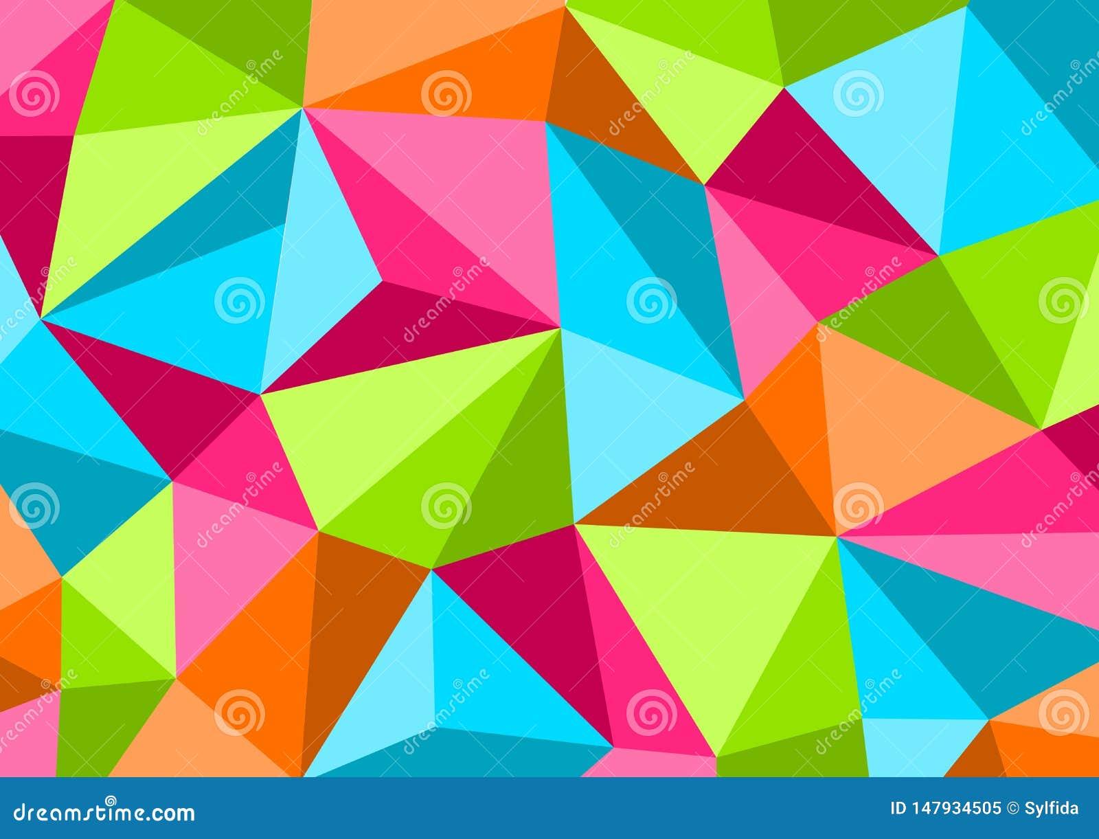 Kleurrijke achtergrond in stijl Laag Poly, geometrisch patroon Vector