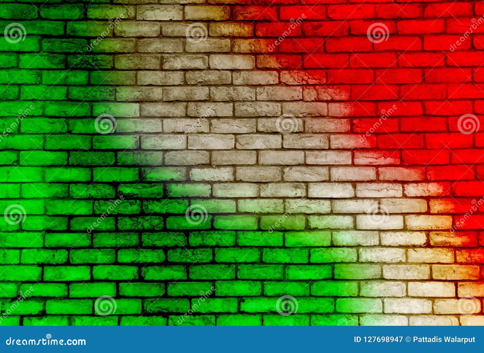 Kleurrijke bakstenen muurachtergrond