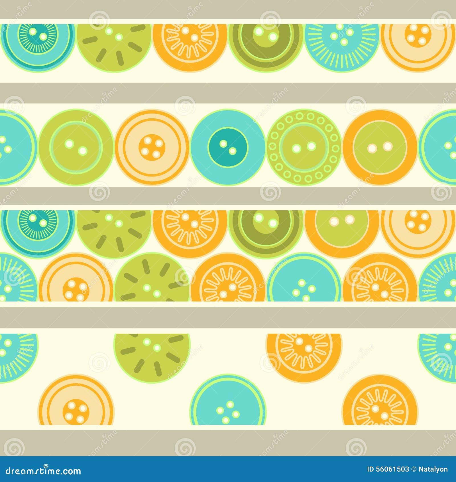 Kleurrijke blauwgroene en oranje knopen op witte naadloze geplaatste grenzen, vector