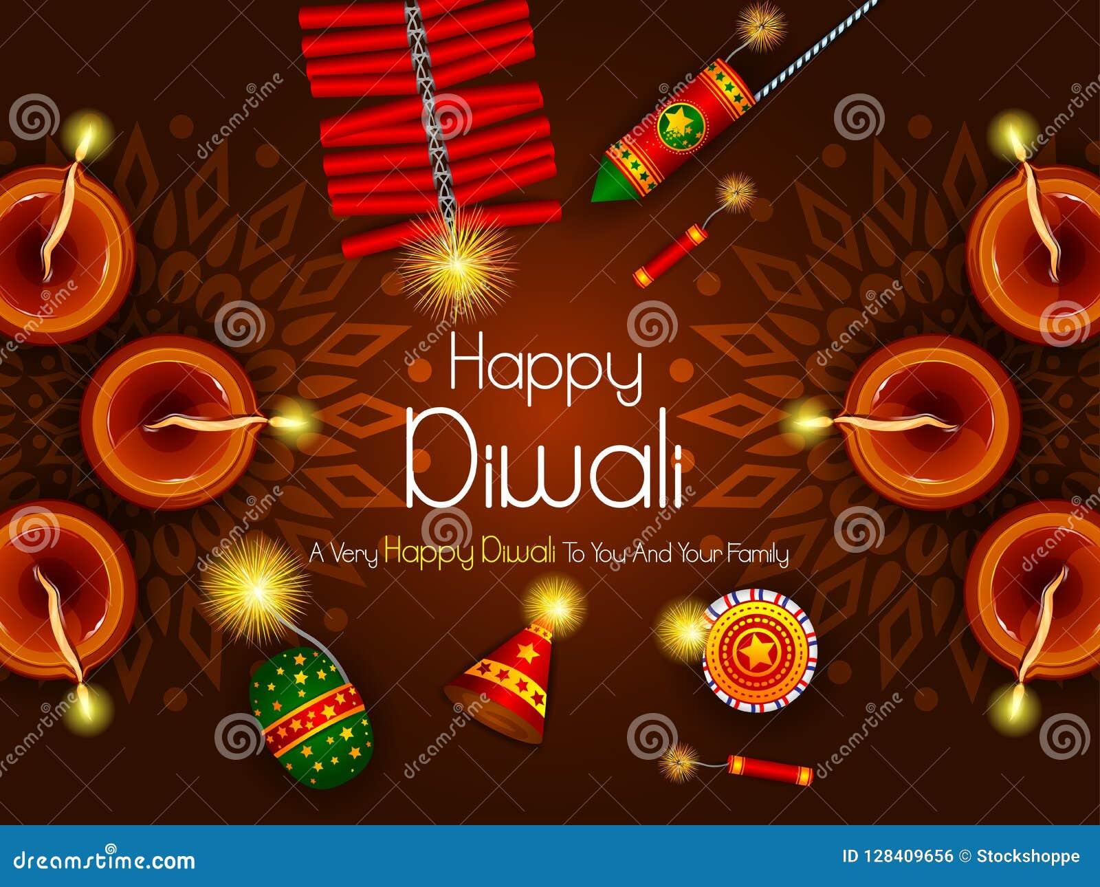Kleurrijke brandcracker met verfraaide diya voor de Gelukkige Diwali-viering van de festivalvakantie van de groetachtergrond van