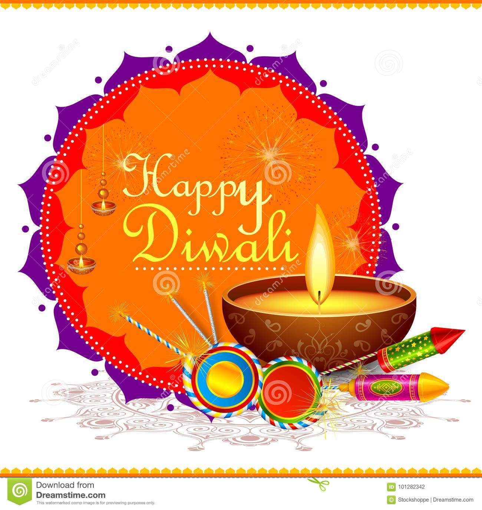Kleurrijke brandcracker met verfraaide diya voor Gelukkig Diwali-festival