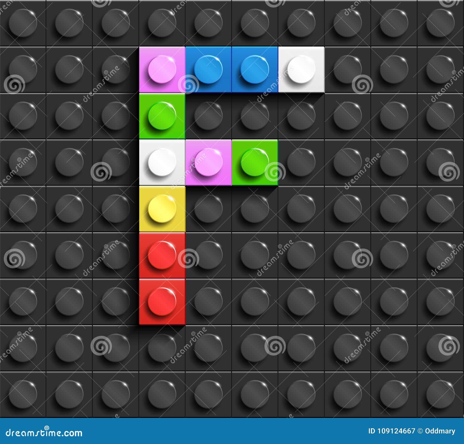 Kleurrijke brieven F van alfabet van de bouw van legobakstenen op de zwarte achtergrond van de legobaksteen legoachtergrond 3D br