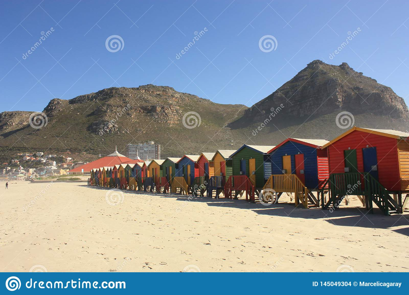 Kleurrijke Cabines op Muizenberg-Strand Zuid-Afrika
