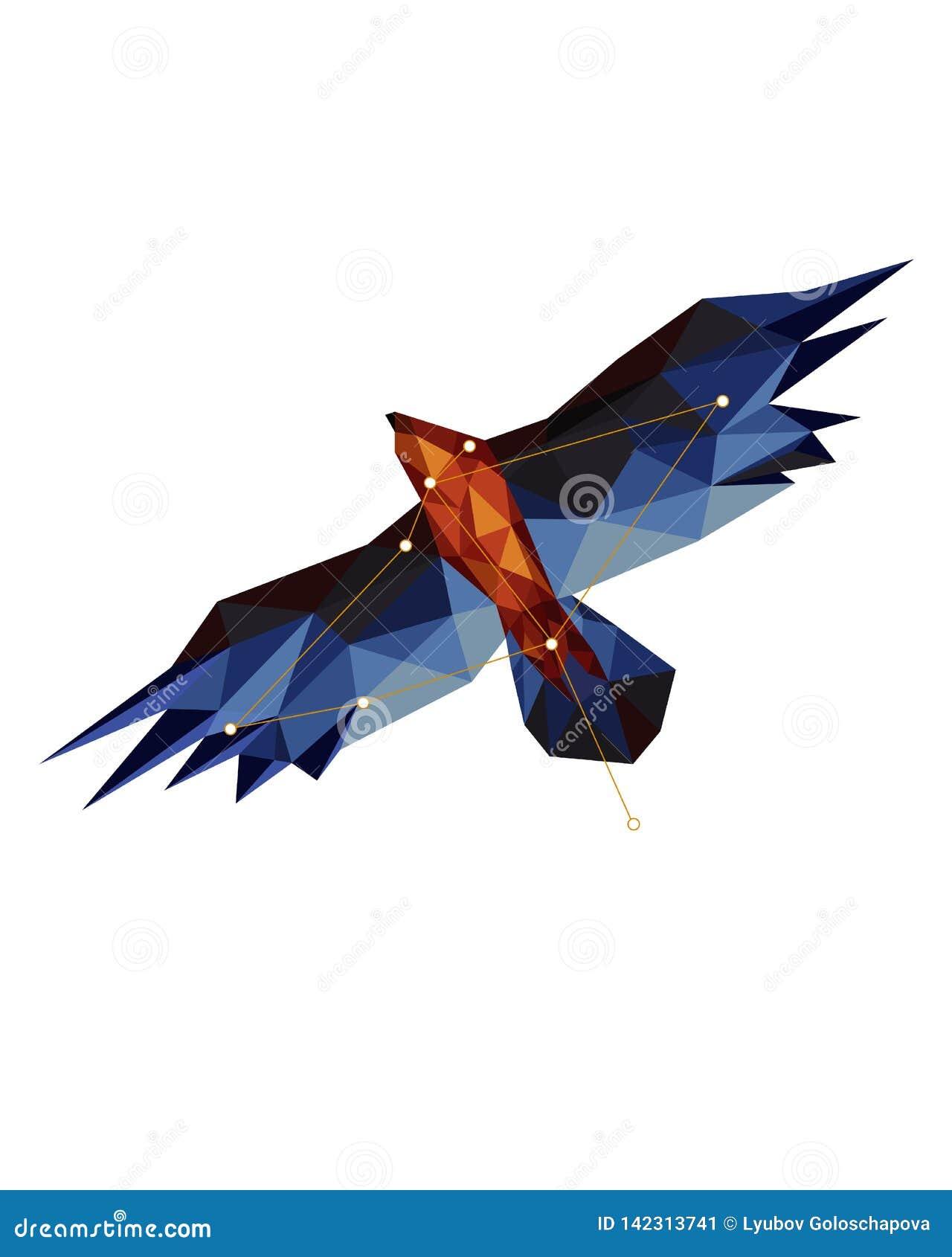Kleurrijke cijferkunst van adelaar in lowpoly stijl op witte achtergrond