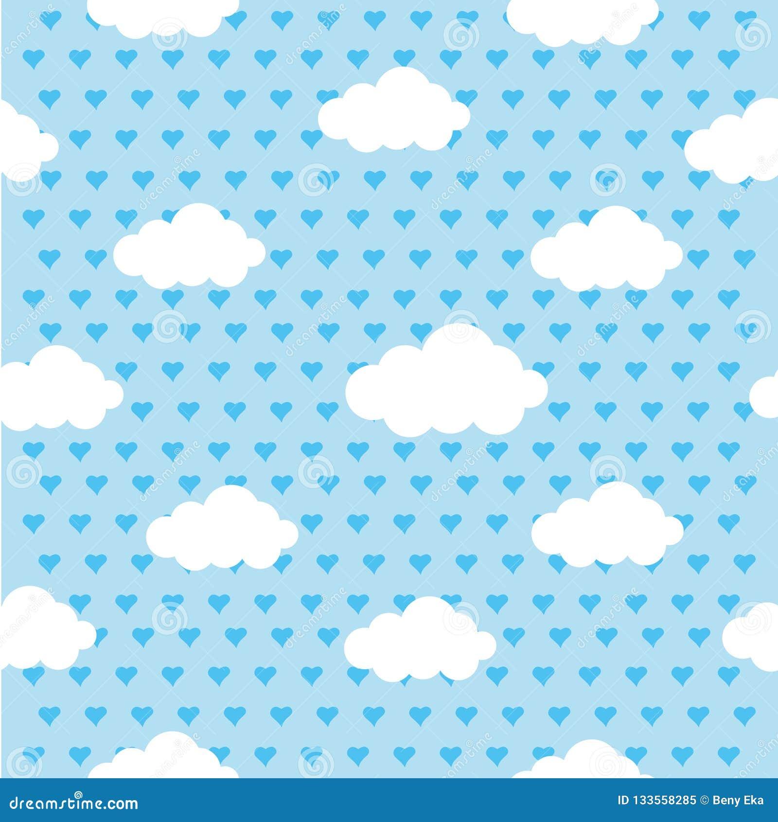 Kleurrijke couds en harten naadloze herhaalde van de achtergrond patroontextuur vectorafbeeldingenillustratie