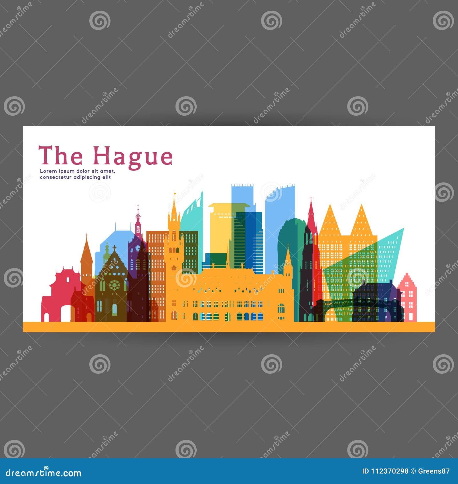 Kleurrijke de architectuur vectorillustratie van Den Haag