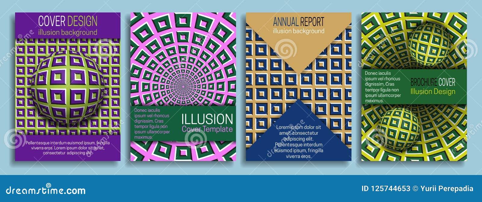 Kleurrijke dekkingsmalplaatjes met de elementen van het optische illusieontwerp Boekje, brochure, jaarverslag, affiche dynamisch