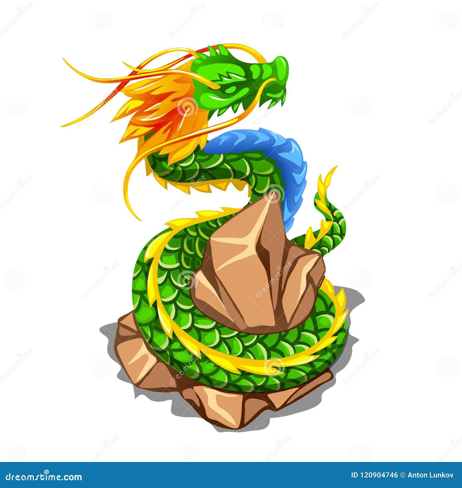 Kleurrijke die draak rond een stapel van stenen wordt verpakt op witte achtergrond worden geïsoleerd De vectorillustratie van het