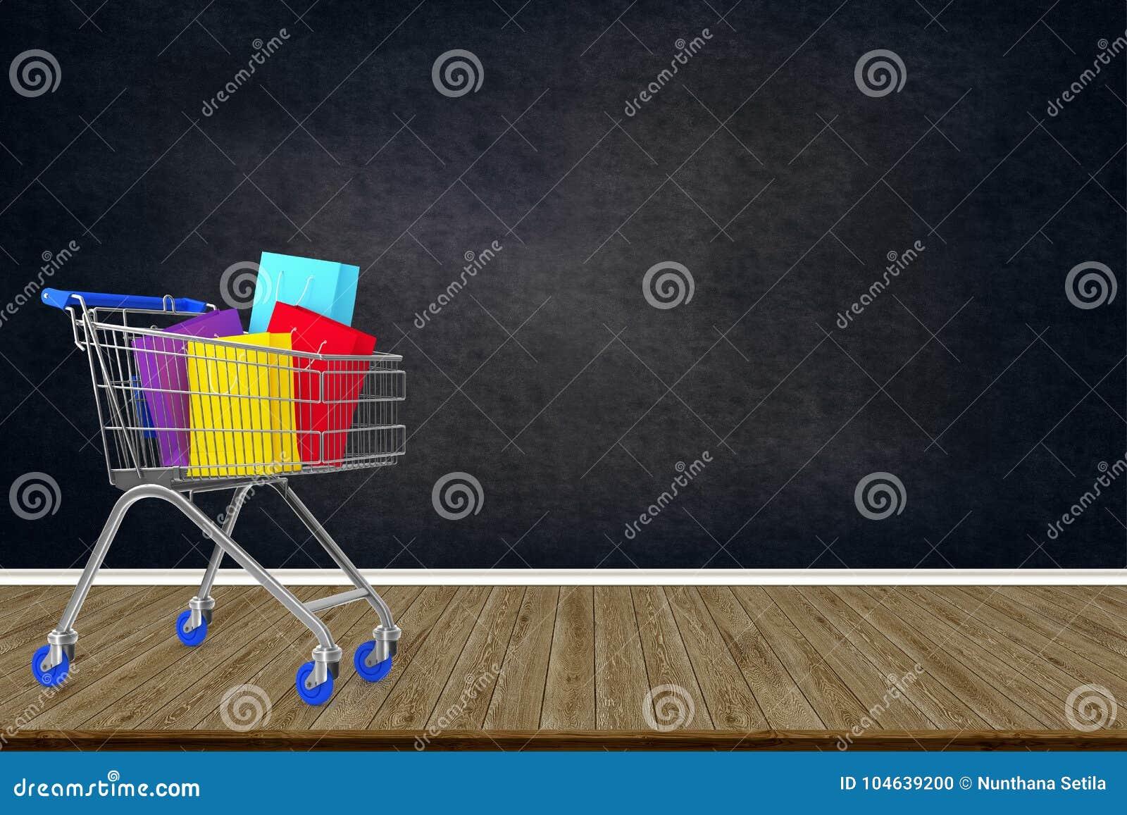Download Kleurrijke Document Het Winkelen Zakken In Boodschappenwagentje Op Houten Vloer Met Stock Illustratie - Illustratie bestaande uit zakken, klant: 104639200
