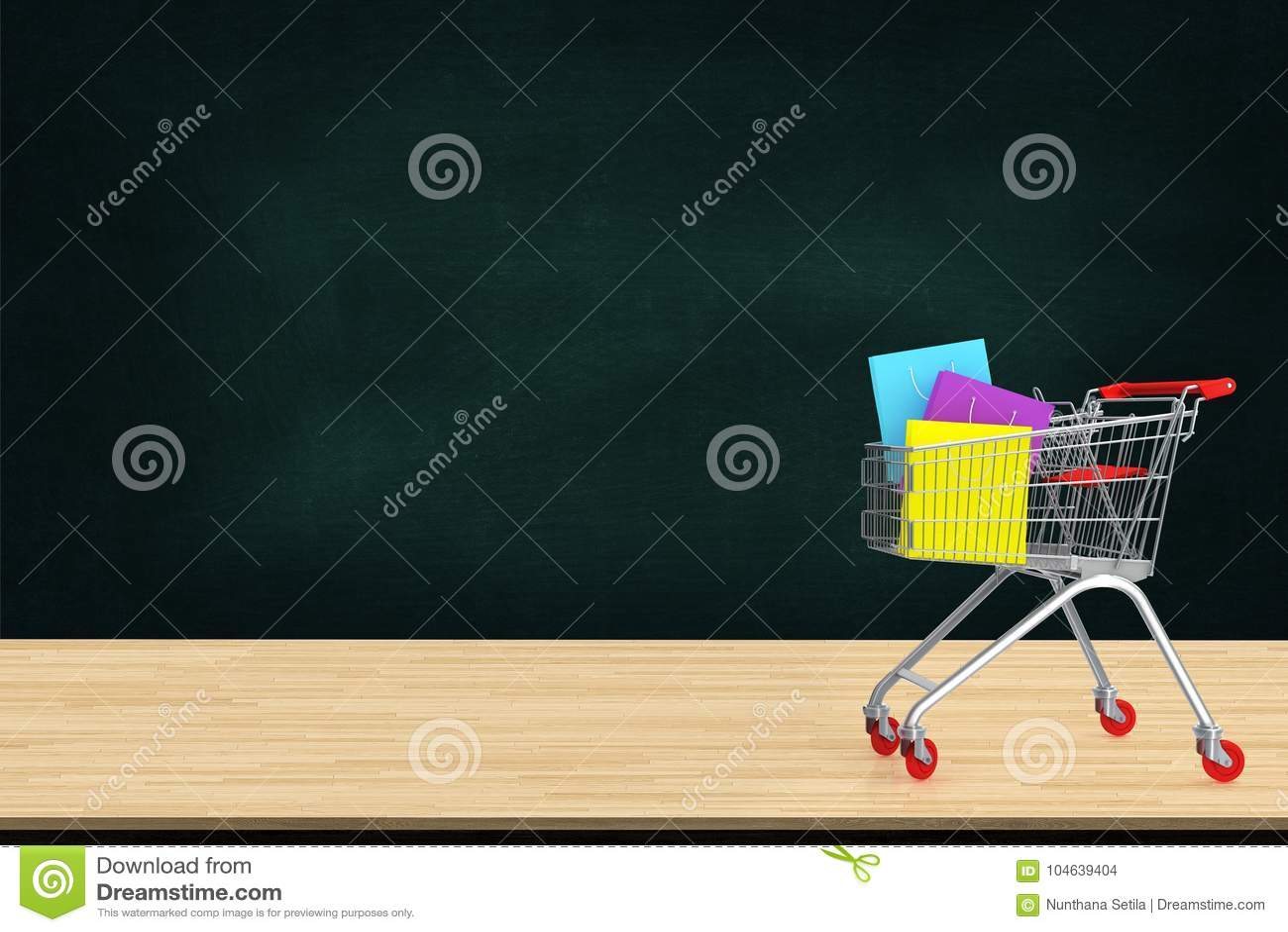 Download Kleurrijke Document Het Winkelen Zakken In Karretje Op Houten Lijst Met Zwarte Stock Illustratie - Illustratie bestaande uit concept, elektronisch: 104639404