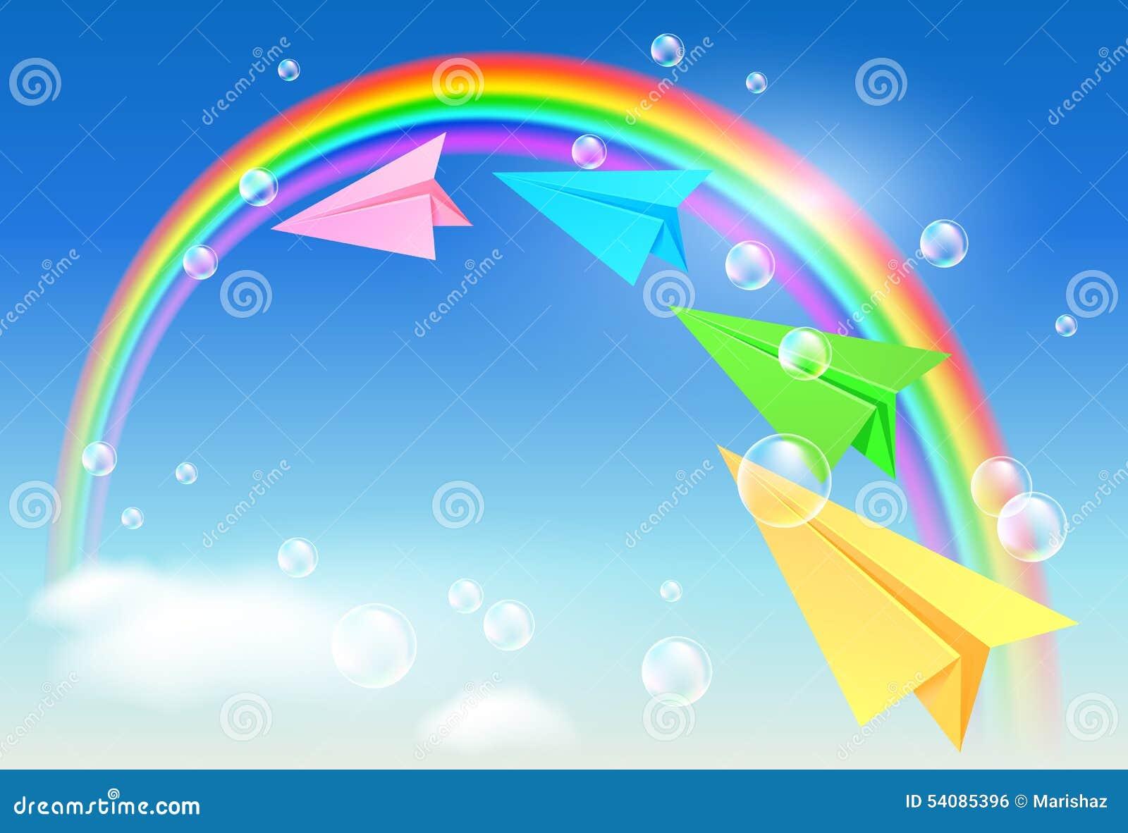 Kleurrijke document vliegtuig en regenboog