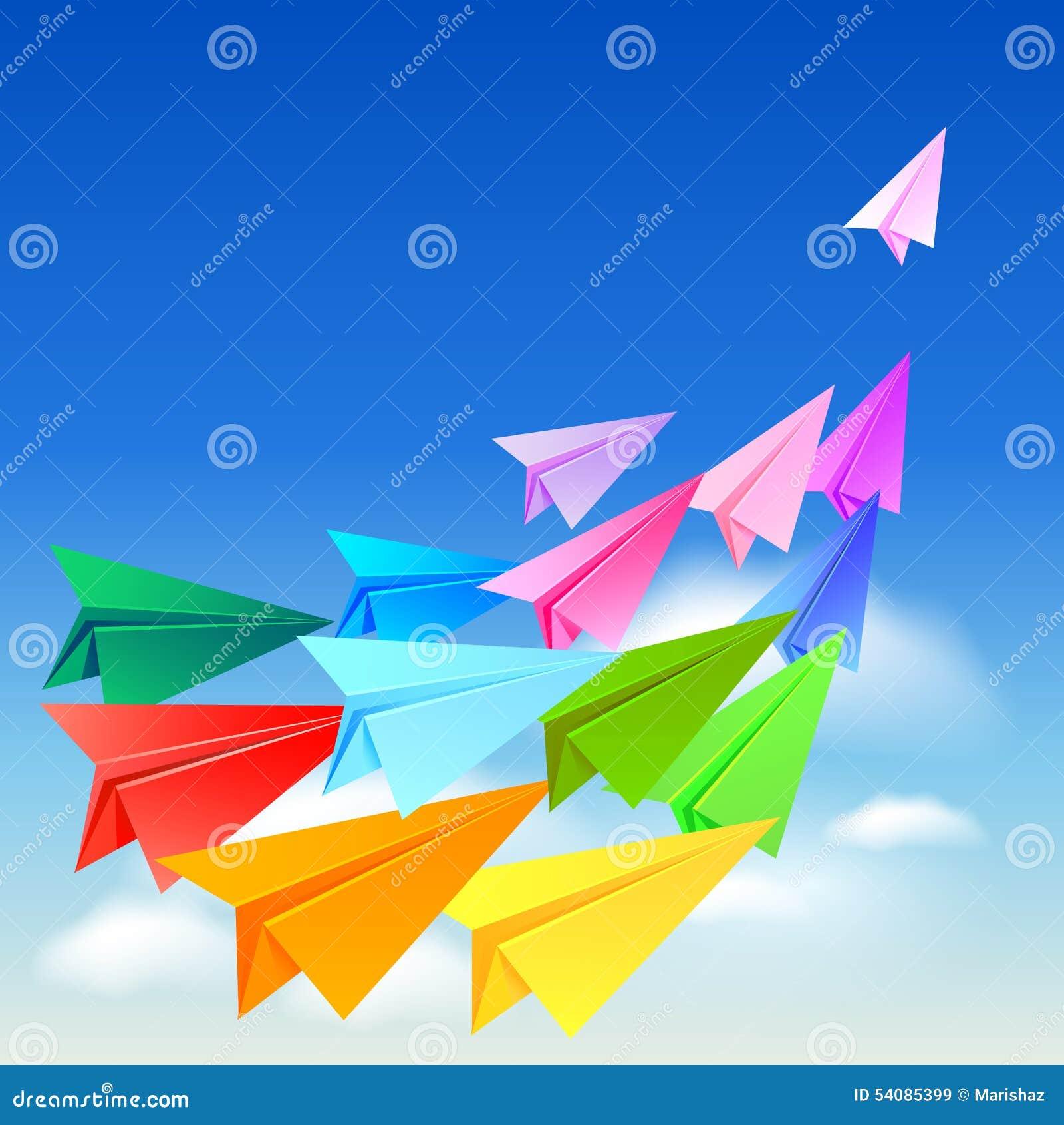Kleurrijke document vliegtuigen