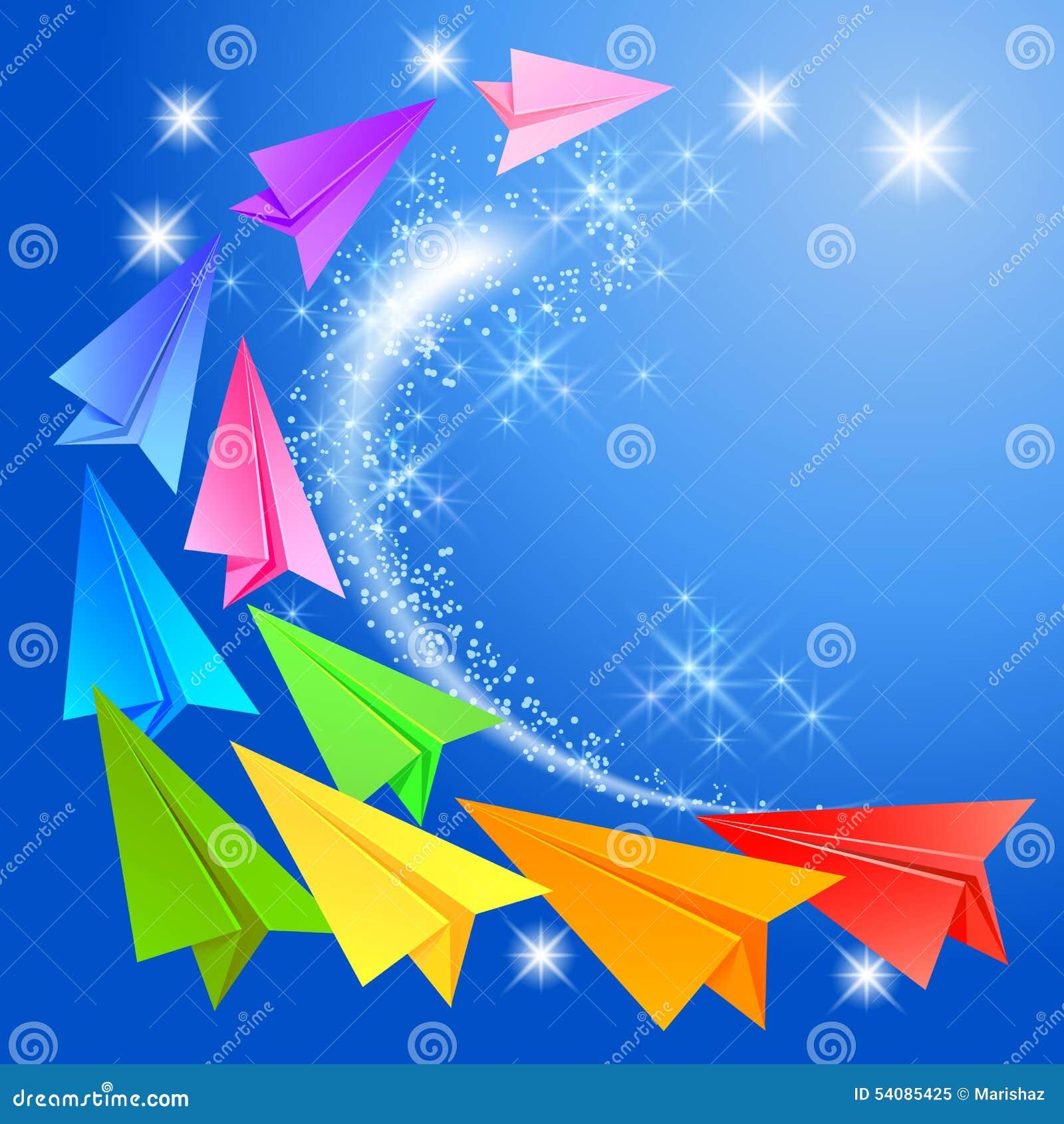 Kleurrijke document vliegtuigen en gloeiende sterren