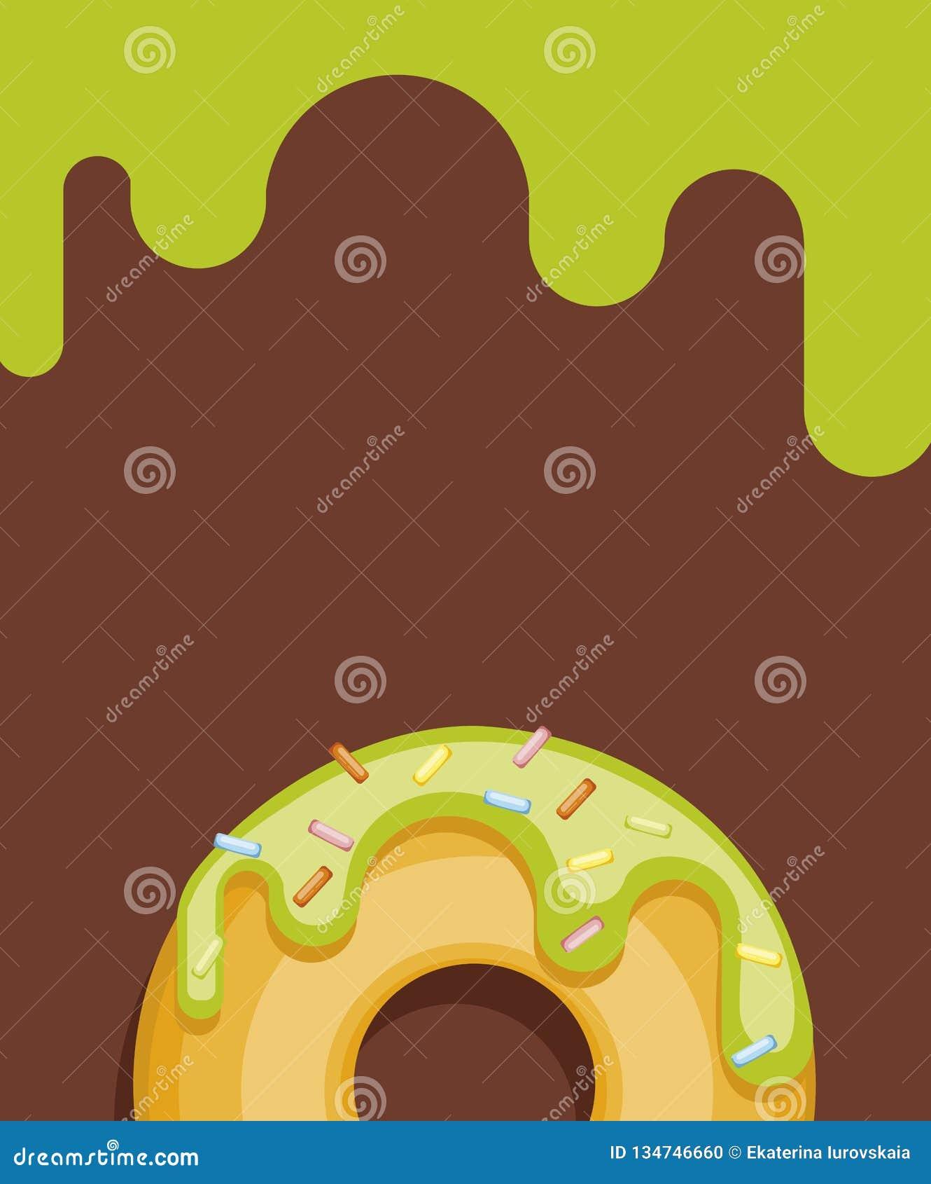 Kleurrijke donuts op kleurenachtergrond De hoogste inzameling van Weergevendonuts in heldere glans voor prentbriefkaaren
