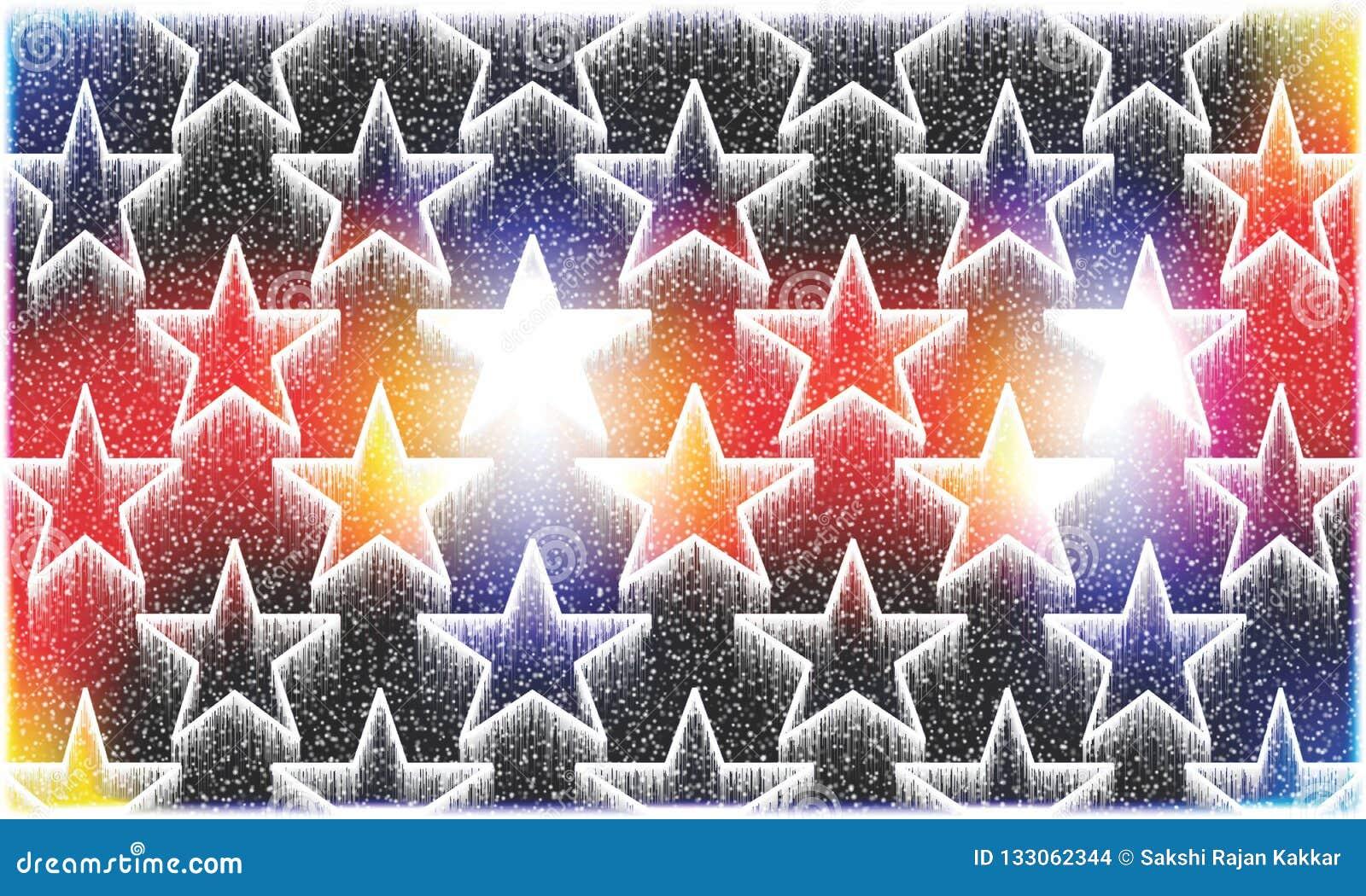 Kleurrijke en in de schaduw gestelde achtergrond die sneeuwdaling hebben en sterren voor geproduceerd de illustratieontwerp van d