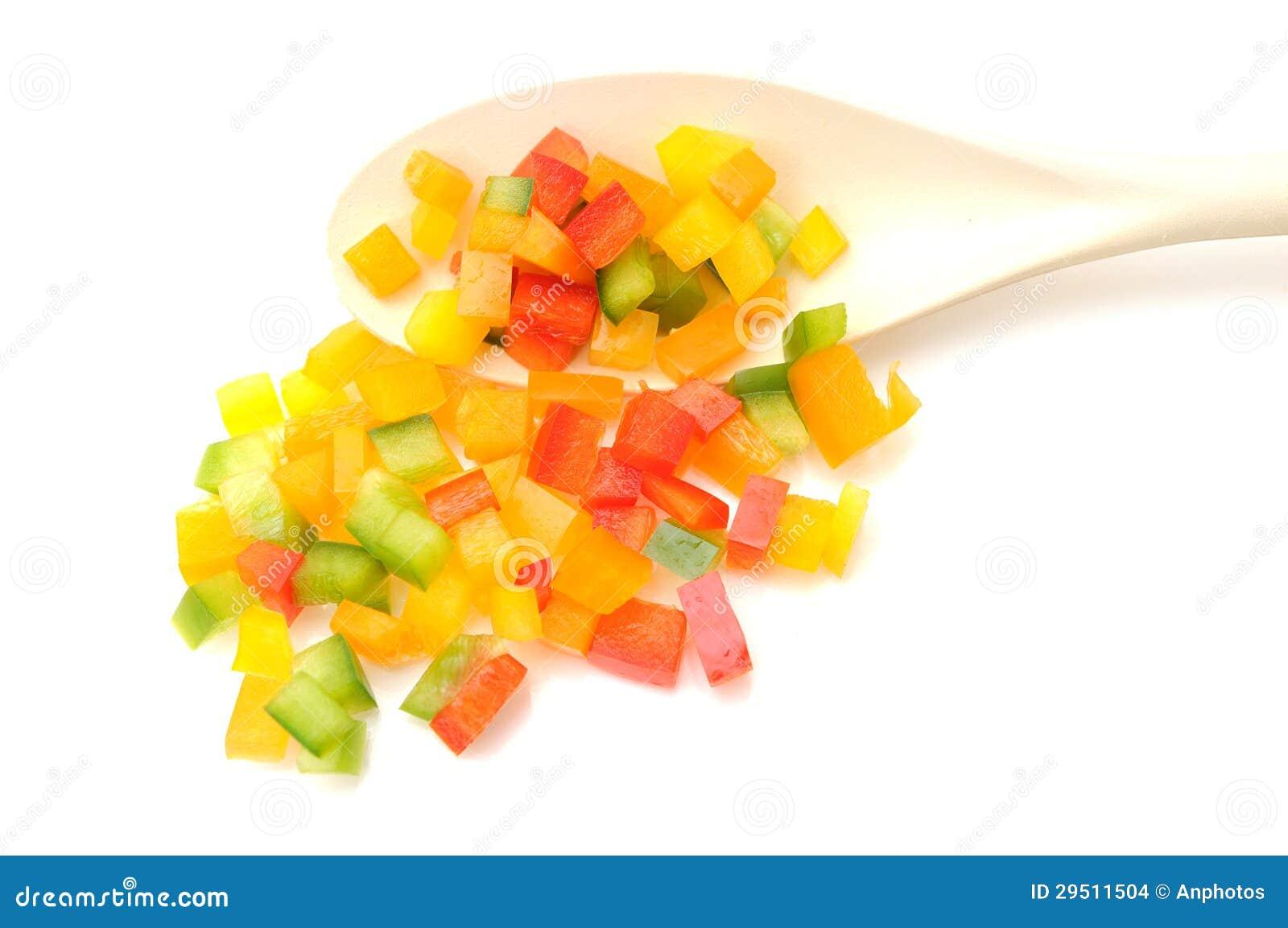 Kleurrijke gehakte groene paprika s