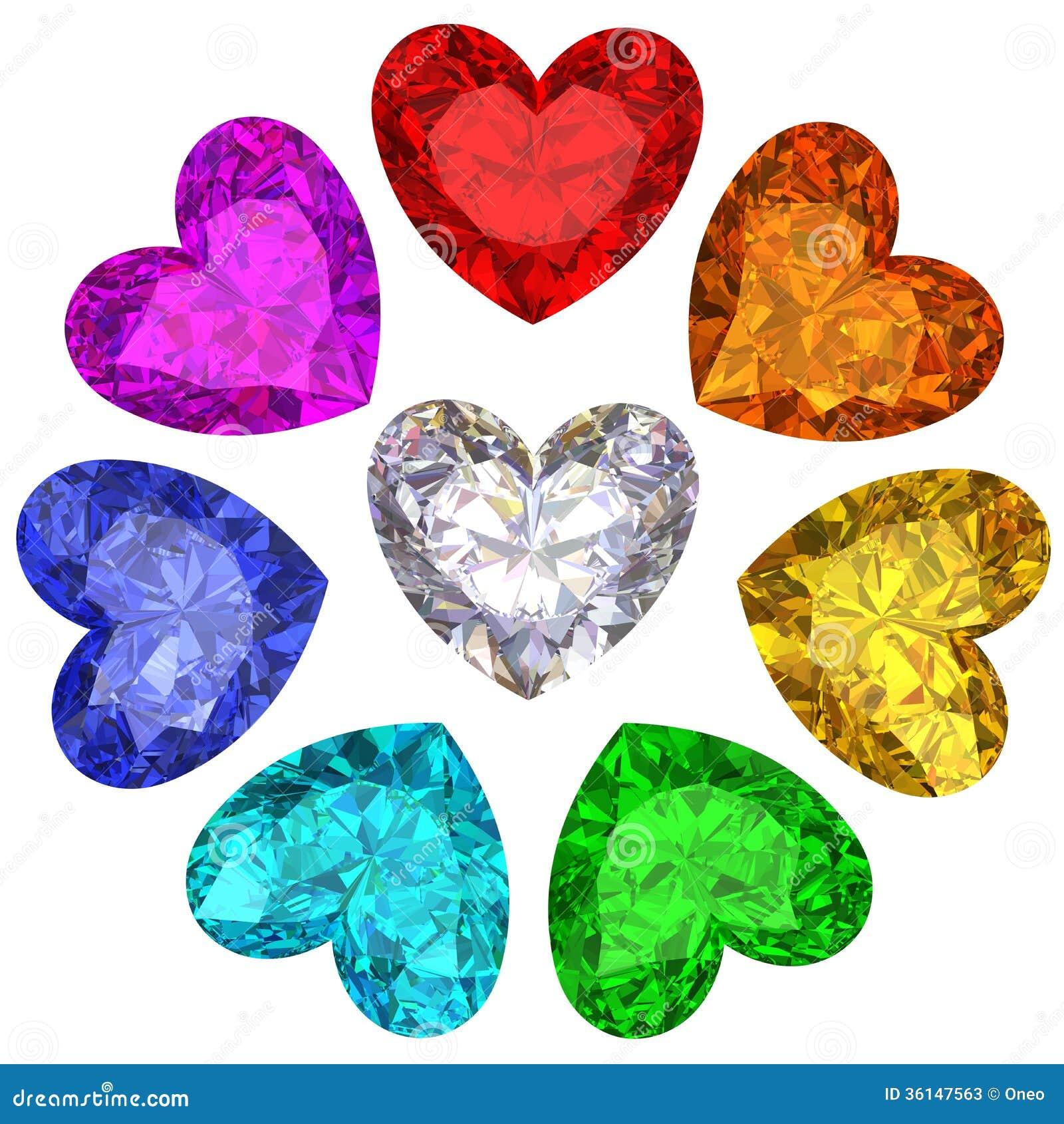 Kleurrijke gemmen in vorm van hart die op wit wordt geïsoleerd