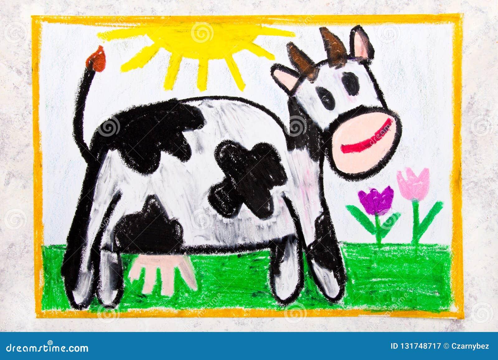 Kleurrijke handtekening: glimlachende koe