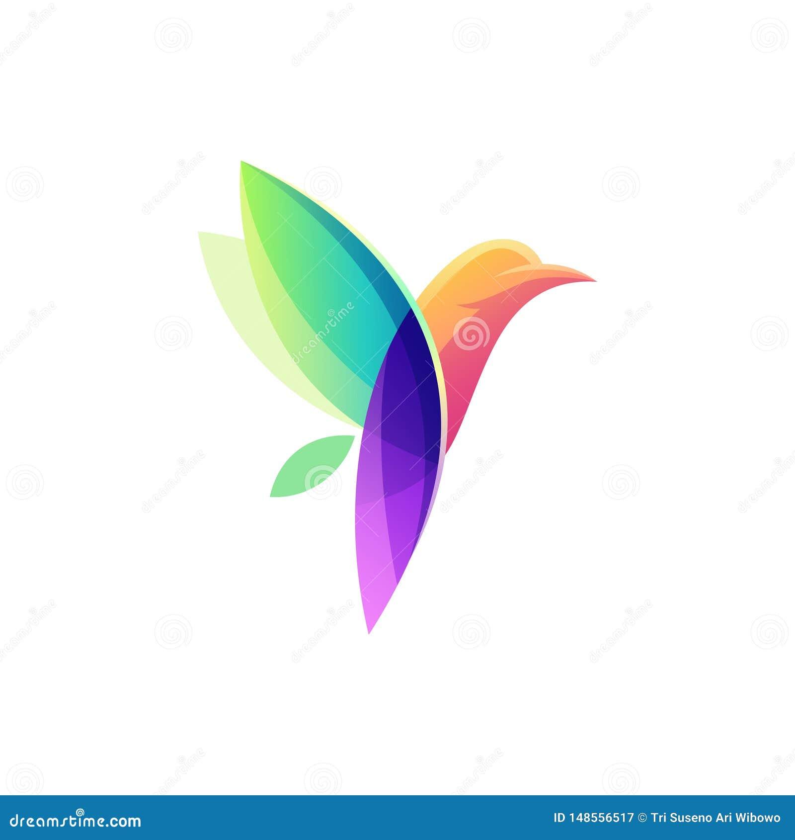 Kleurrijke het ontwerpillustratie van het vogelembleem