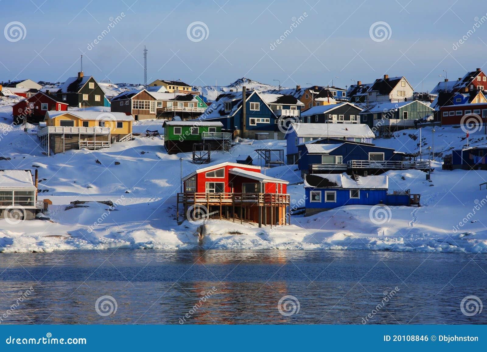 Kleurrijke huizen in Groenland