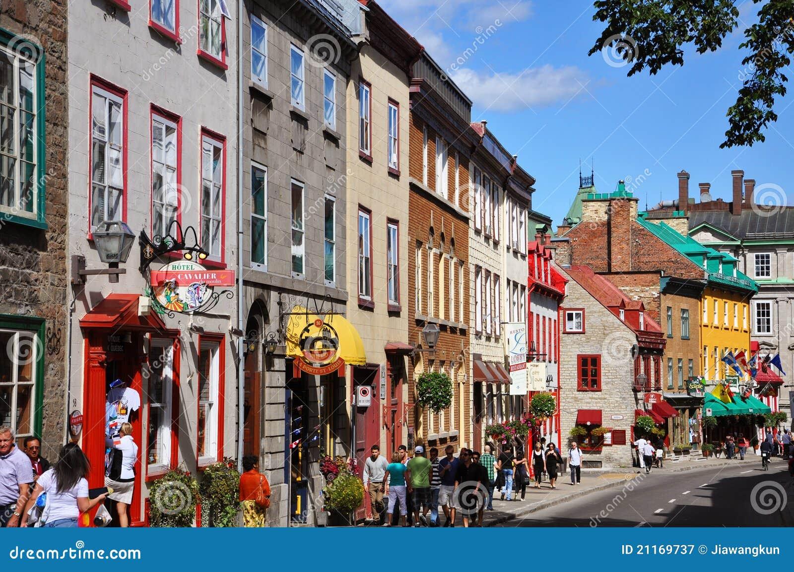 Kleurrijke Huizen op Rue Saint Louis, de Stad van Quebec