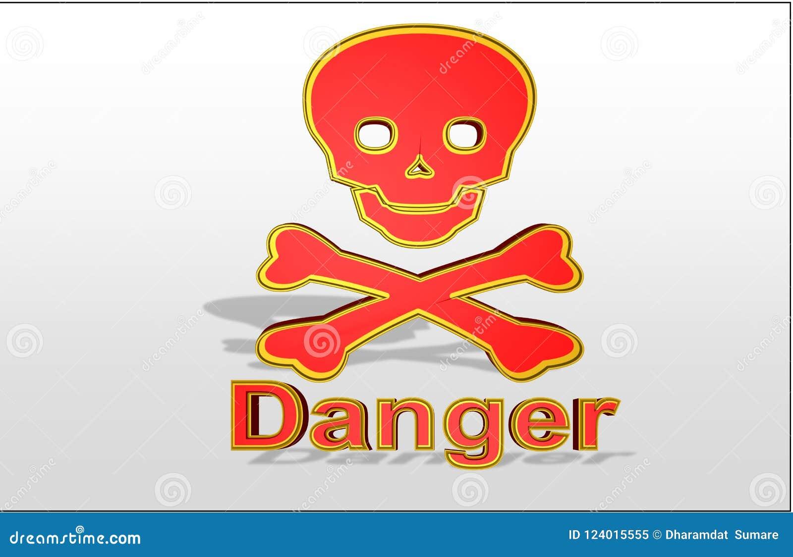 Kleurrijke Illustratie van `-gevaarsteken ` met gouden lijn van gevaar