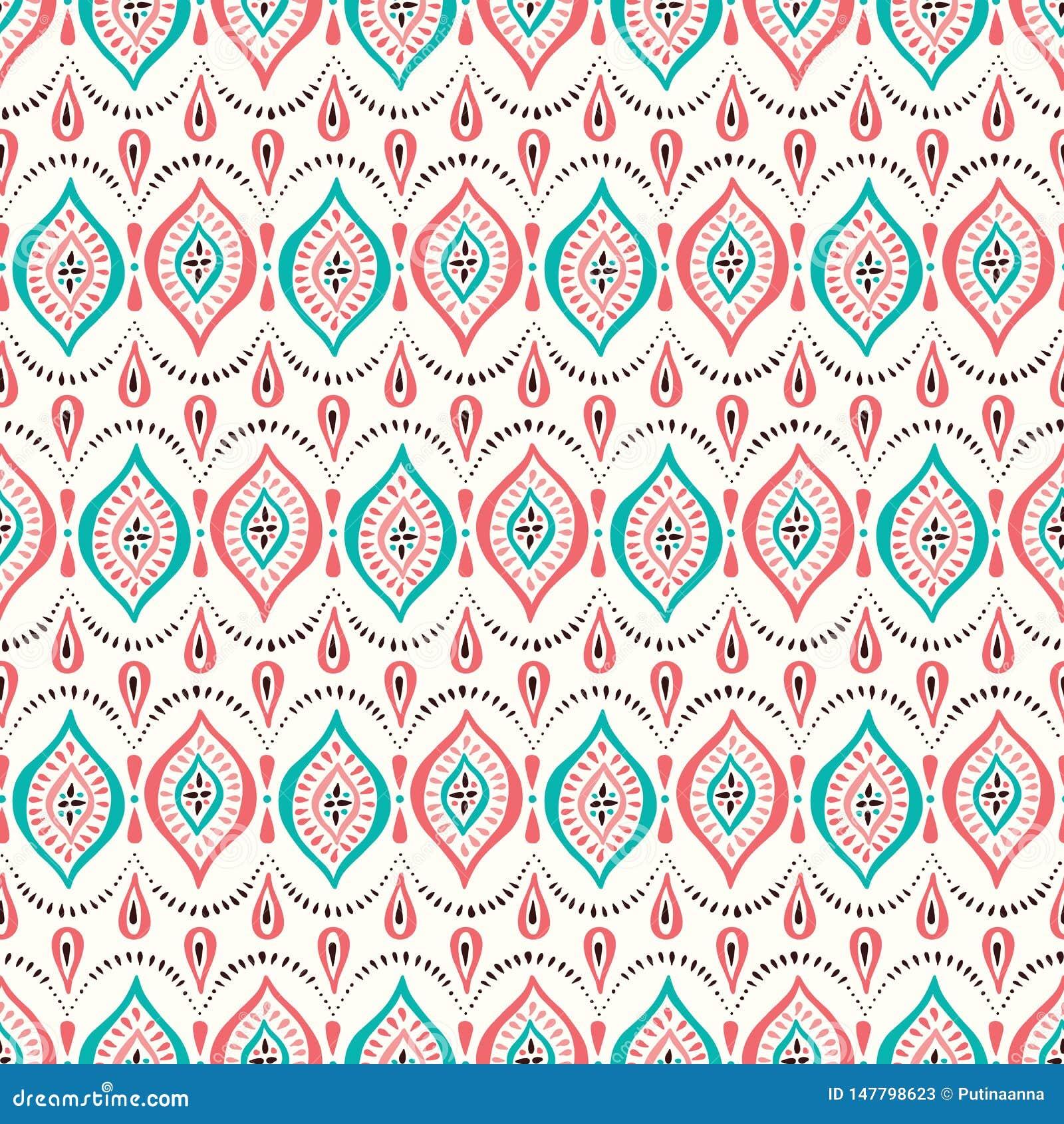 Kleurrijke Koraal en Aqua Handdrawn Lace Pattern met Diamanten en Punten Klassieke Elegante Vector Naadloze Achtergrond