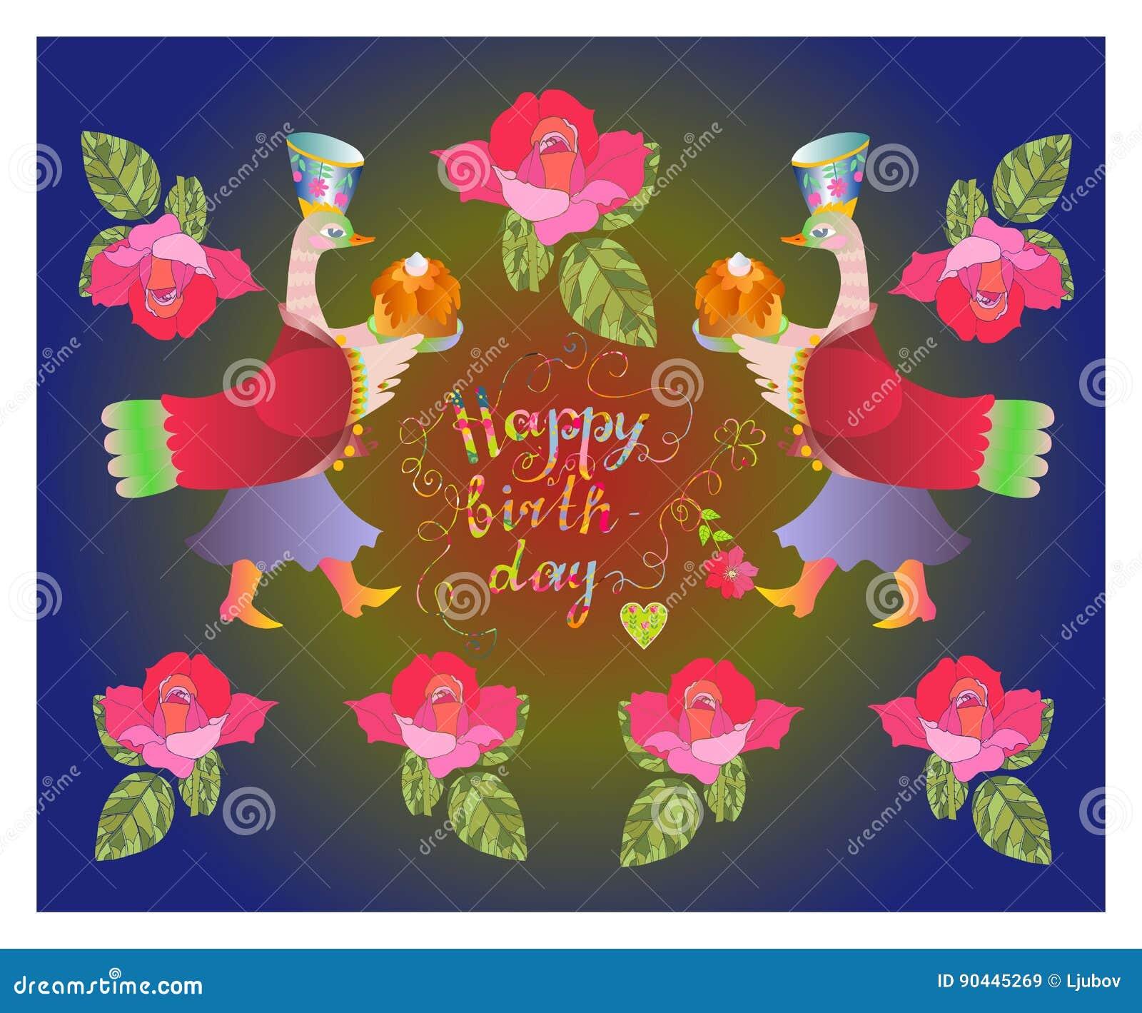 kleurrijke leuke gelukkige verjaardagskaart met feeeenden bloemen
