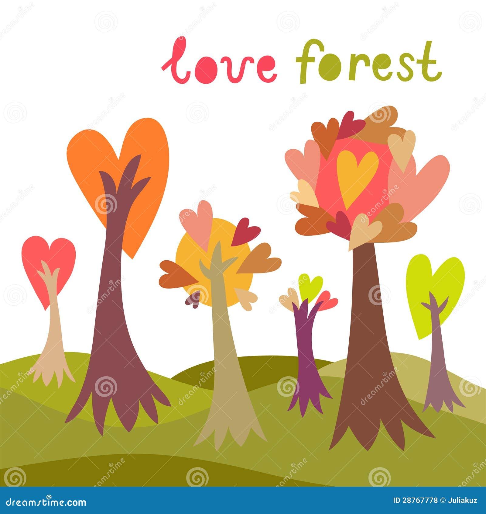 Kleurrijke liefde bosachtergrond