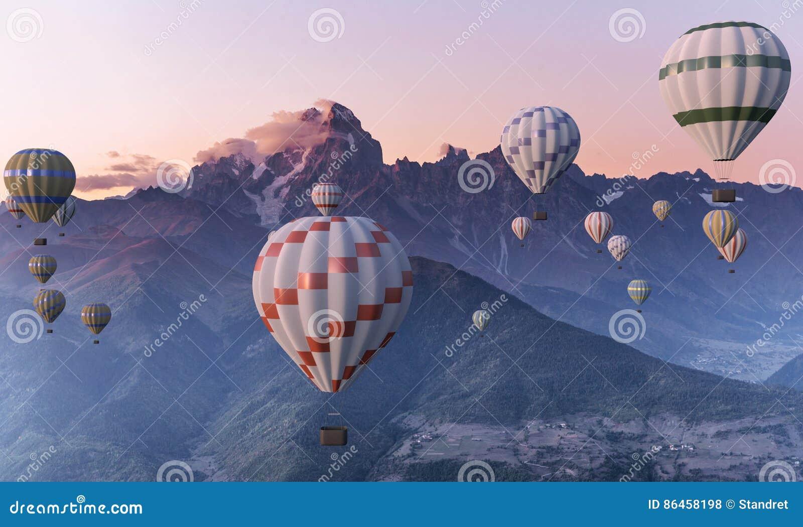 Kleurrijke luchtballonnen die over de berg vliegen