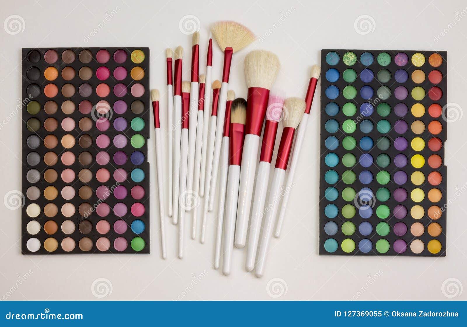 Kleurrijke make-upreeks oogschaduwwen en borstels